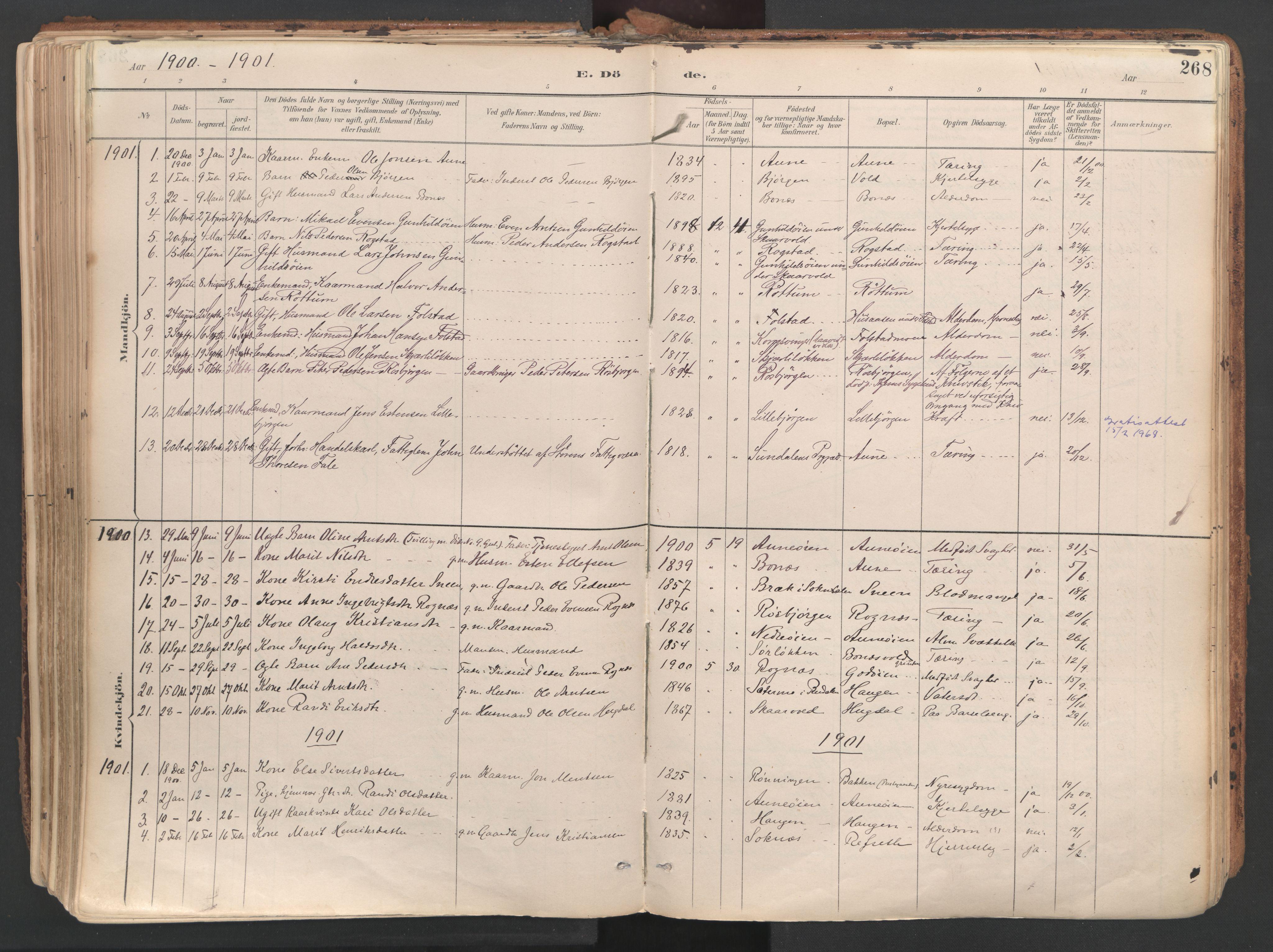SAT, Ministerialprotokoller, klokkerbøker og fødselsregistre - Sør-Trøndelag, 687/L1004: Ministerialbok nr. 687A10, 1891-1923, s. 268