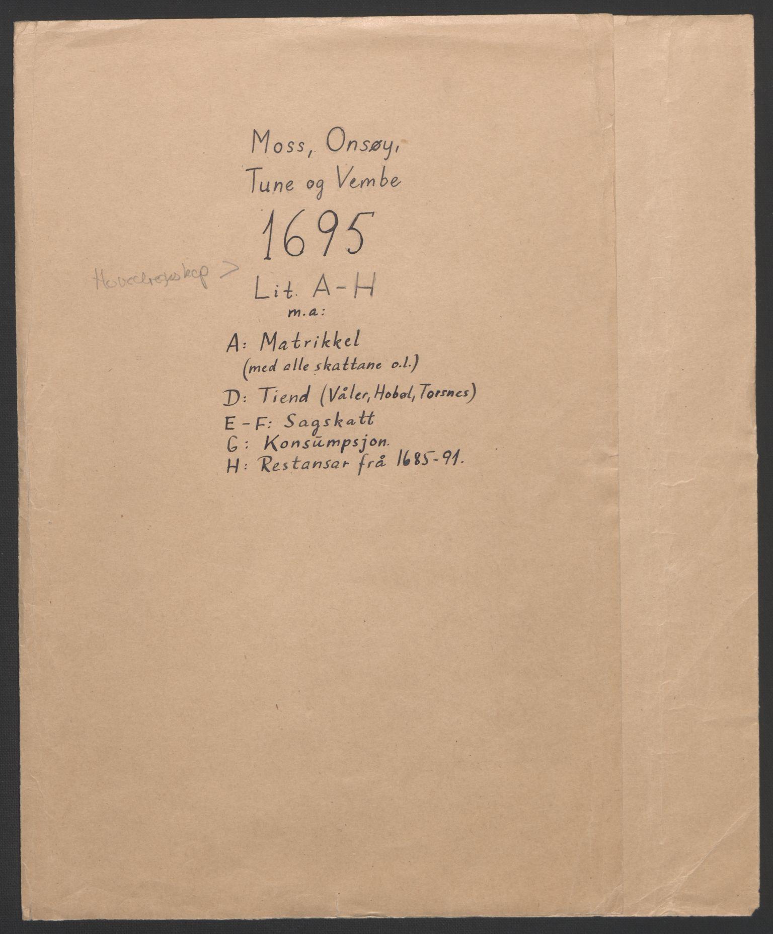 RA, Rentekammeret inntil 1814, Reviderte regnskaper, Fogderegnskap, R04/L0122: Fogderegnskap Moss, Onsøy, Tune, Veme og Åbygge, 1695, s. 3