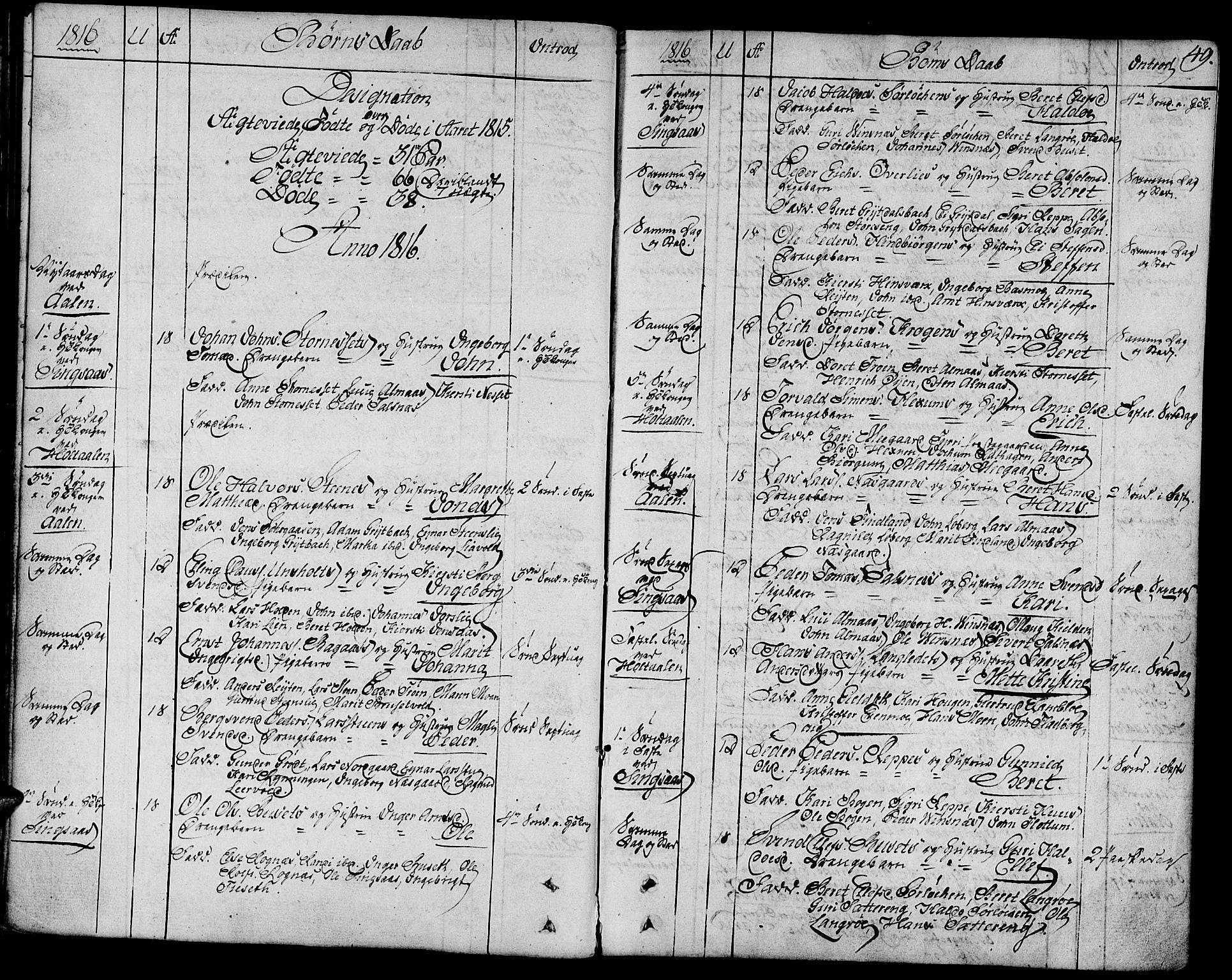 SAT, Ministerialprotokoller, klokkerbøker og fødselsregistre - Sør-Trøndelag, 685/L0953: Ministerialbok nr. 685A02, 1805-1816, s. 49