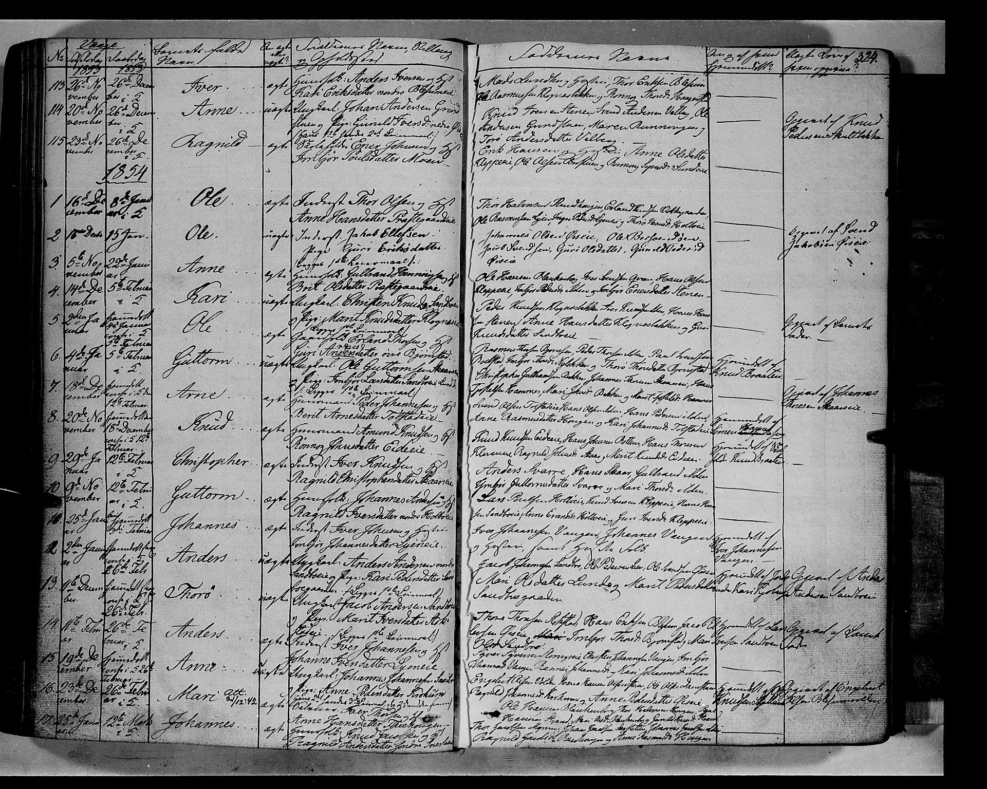 SAH, Vågå prestekontor, Ministerialbok nr. 5 /1, 1842-1856, s. 324