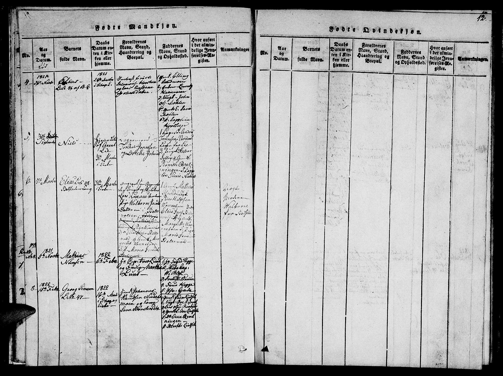 SAT, Ministerialprotokoller, klokkerbøker og fødselsregistre - Nord-Trøndelag, 766/L0565: Klokkerbok nr. 767C01, 1817-1823, s. 12