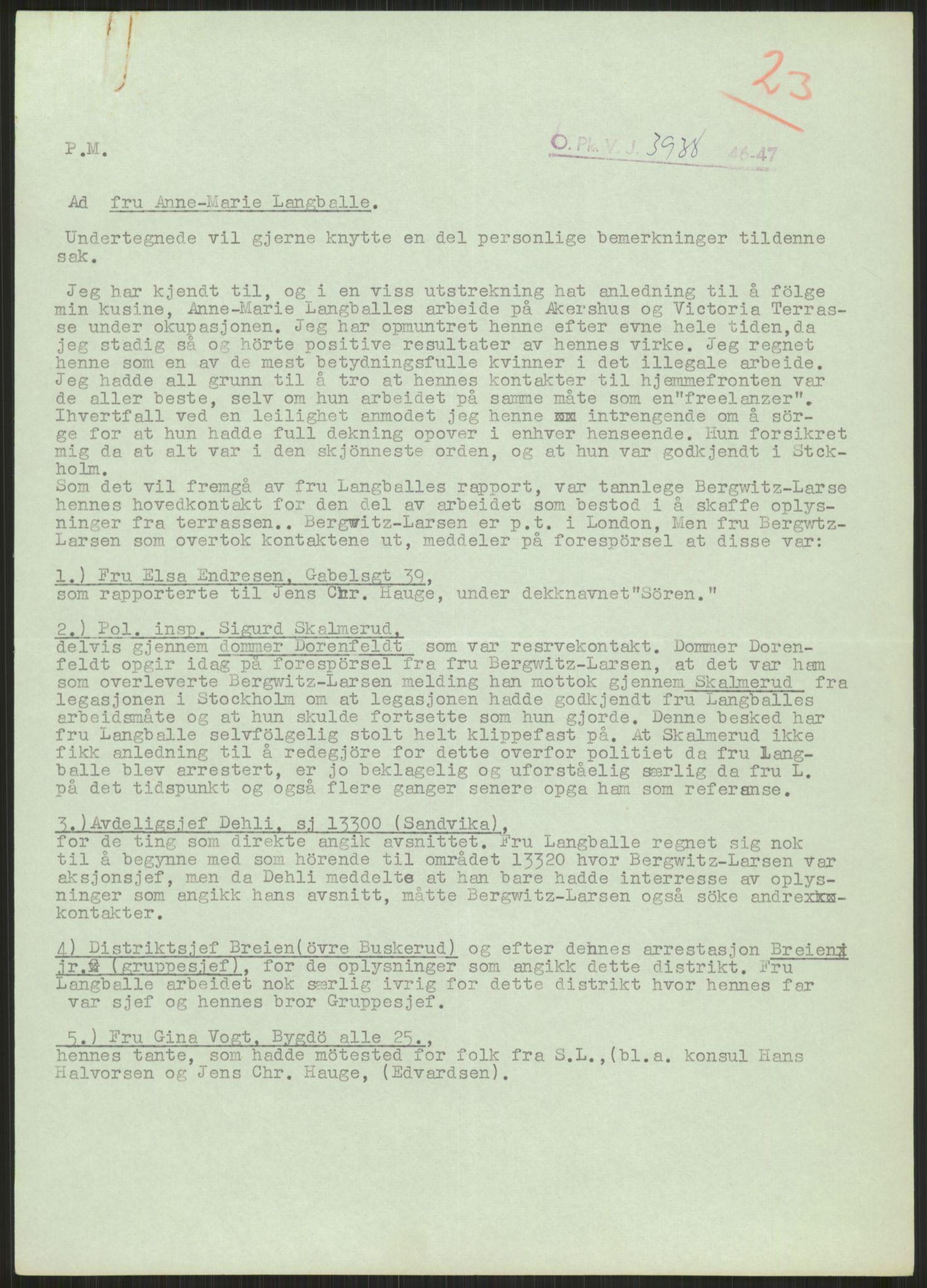 RA, Landssvikarkivet, Oslo politikammer, D/Dg/L0267: Henlagt hnr. 3658, 1945-1946, s. 280