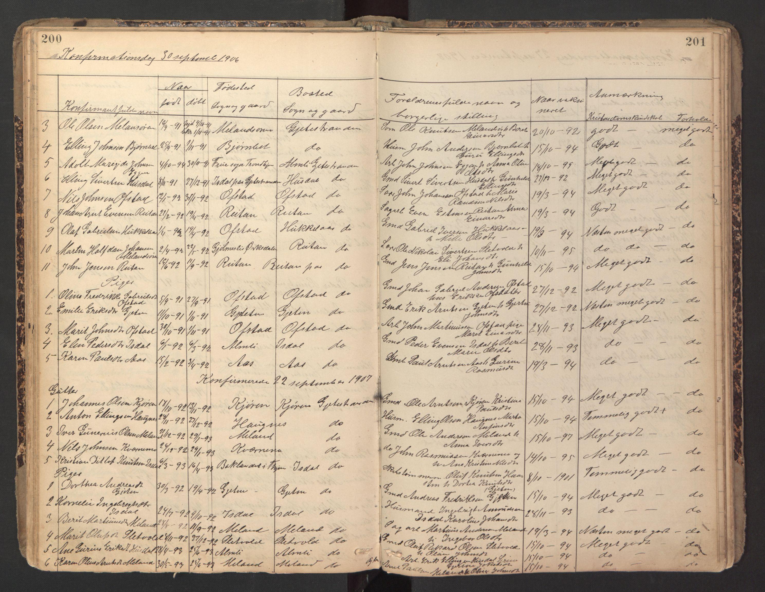 SAT, Ministerialprotokoller, klokkerbøker og fødselsregistre - Sør-Trøndelag, 670/L0837: Klokkerbok nr. 670C01, 1905-1946, s. 200-201