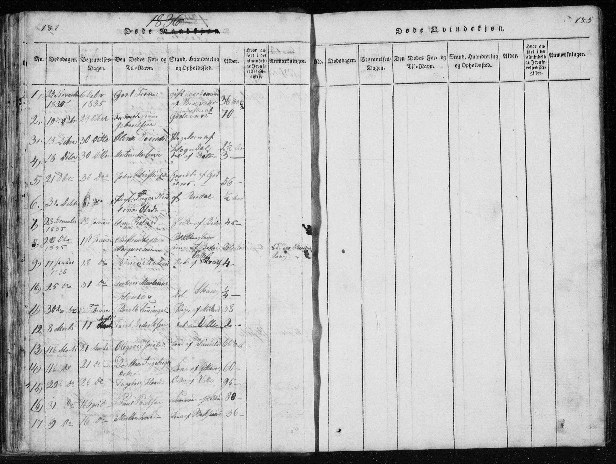 SAT, Ministerialprotokoller, klokkerbøker og fødselsregistre - Nordland, 801/L0027: Klokkerbok nr. 801C02, 1835-1845, s. 182-183