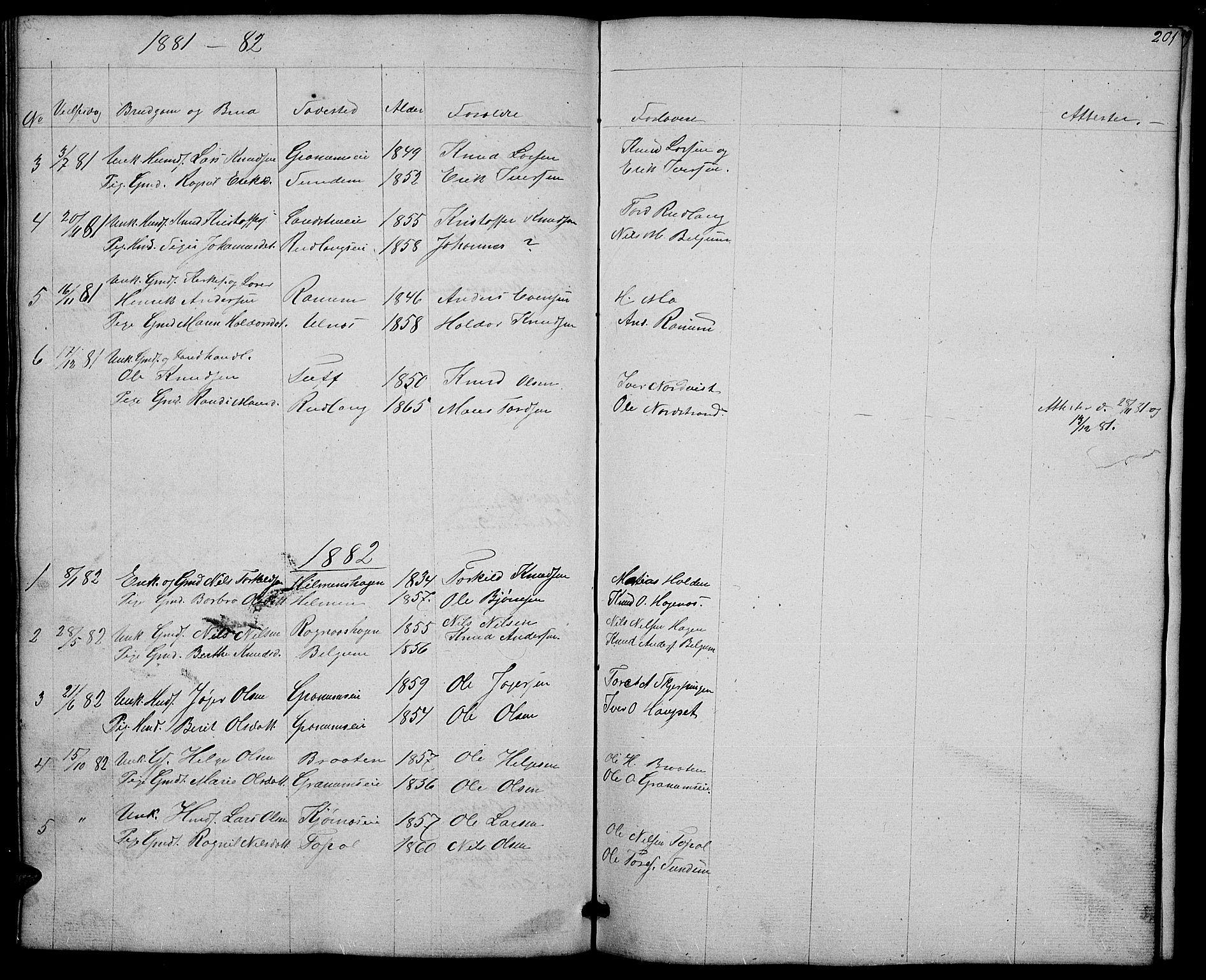 SAH, Nord-Aurdal prestekontor, Klokkerbok nr. 4, 1842-1882, s. 201