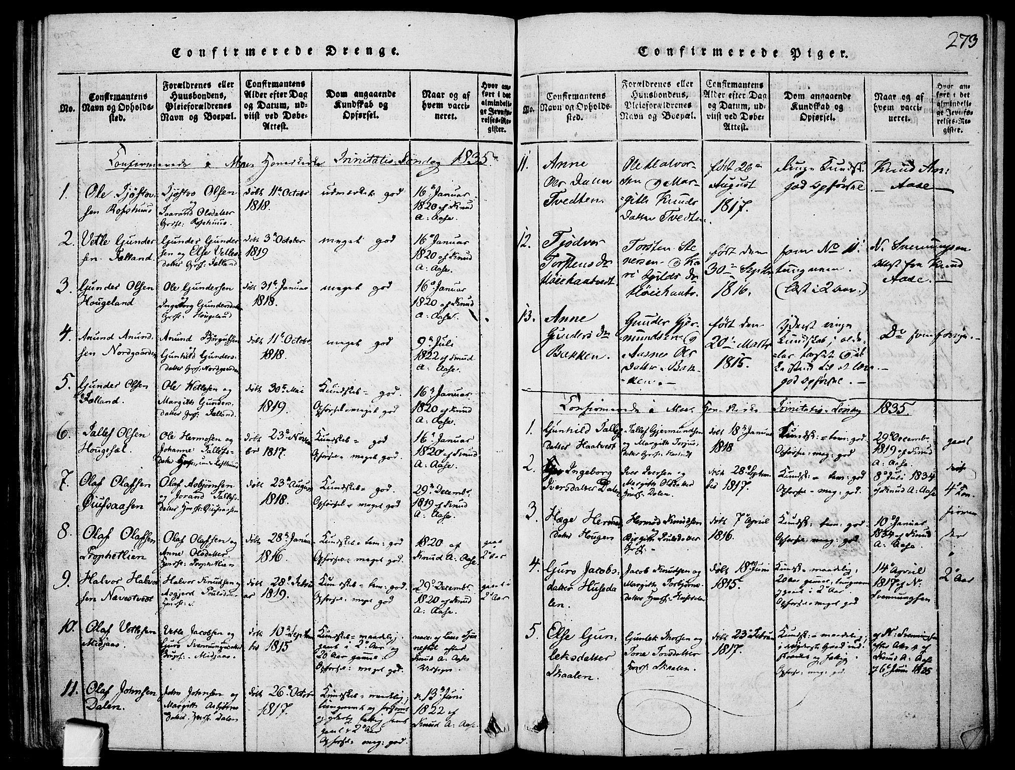 SAKO, Mo kirkebøker, F/Fa/L0004: Ministerialbok nr. I 4, 1814-1844, s. 273