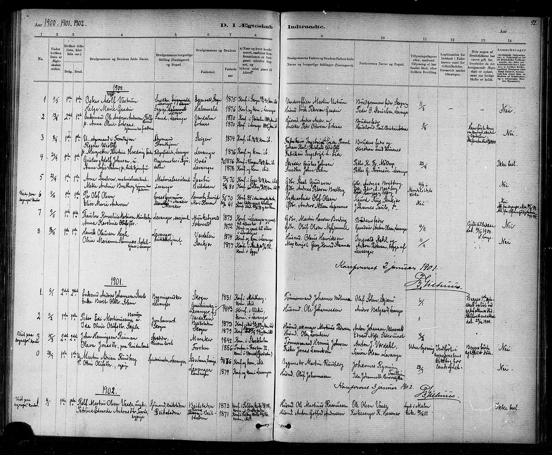 SAT, Ministerialprotokoller, klokkerbøker og fødselsregistre - Nord-Trøndelag, 720/L0192: Klokkerbok nr. 720C01, 1880-1917, s. 92