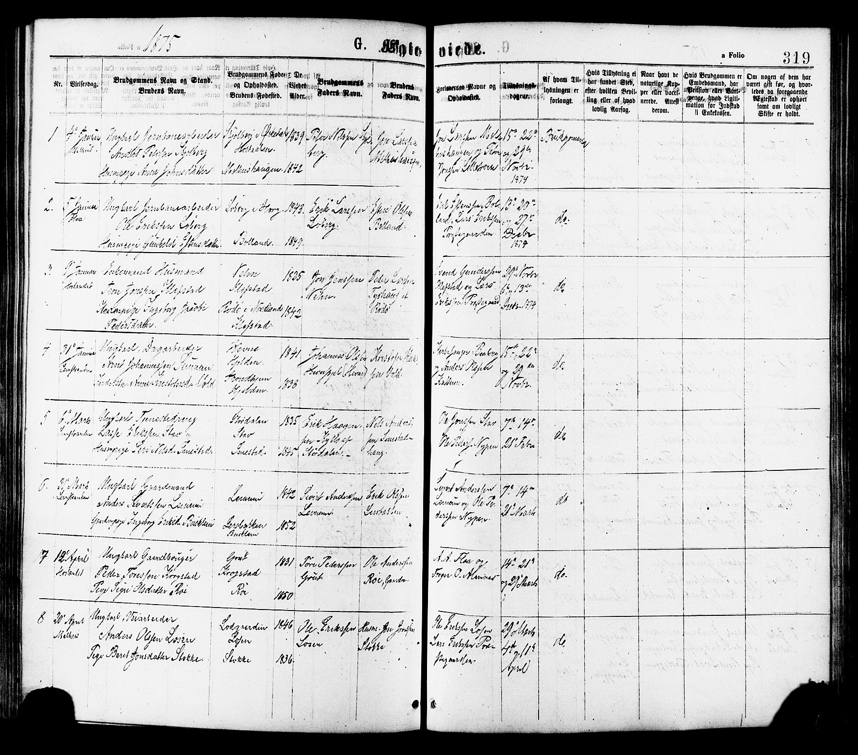 SAT, Ministerialprotokoller, klokkerbøker og fødselsregistre - Sør-Trøndelag, 691/L1079: Ministerialbok nr. 691A11, 1873-1886, s. 319