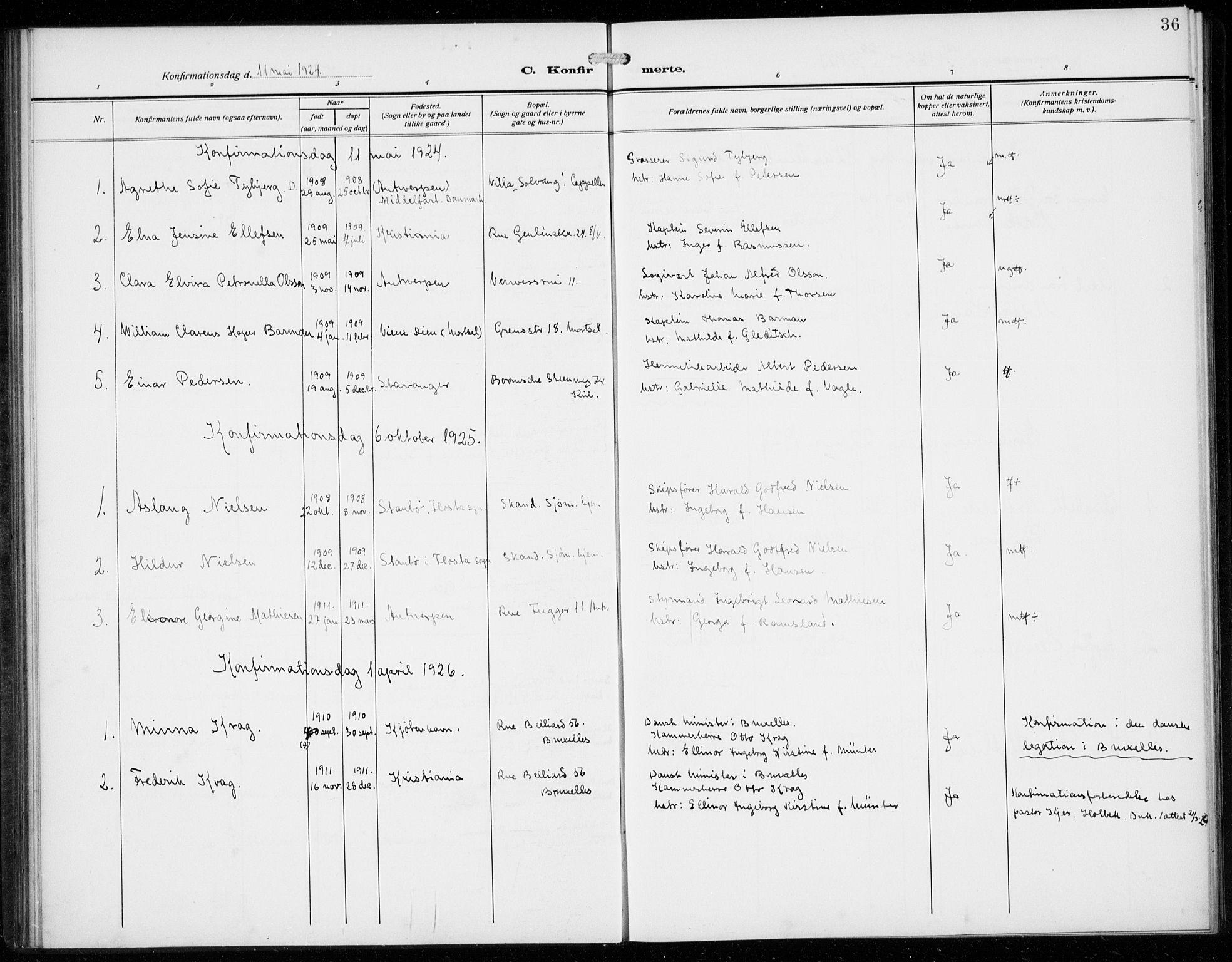 SAB, Den Norske Sjømannsmisjon i utlandet*, Ministerialbok nr. A 3, 1914-1930, s. 36
