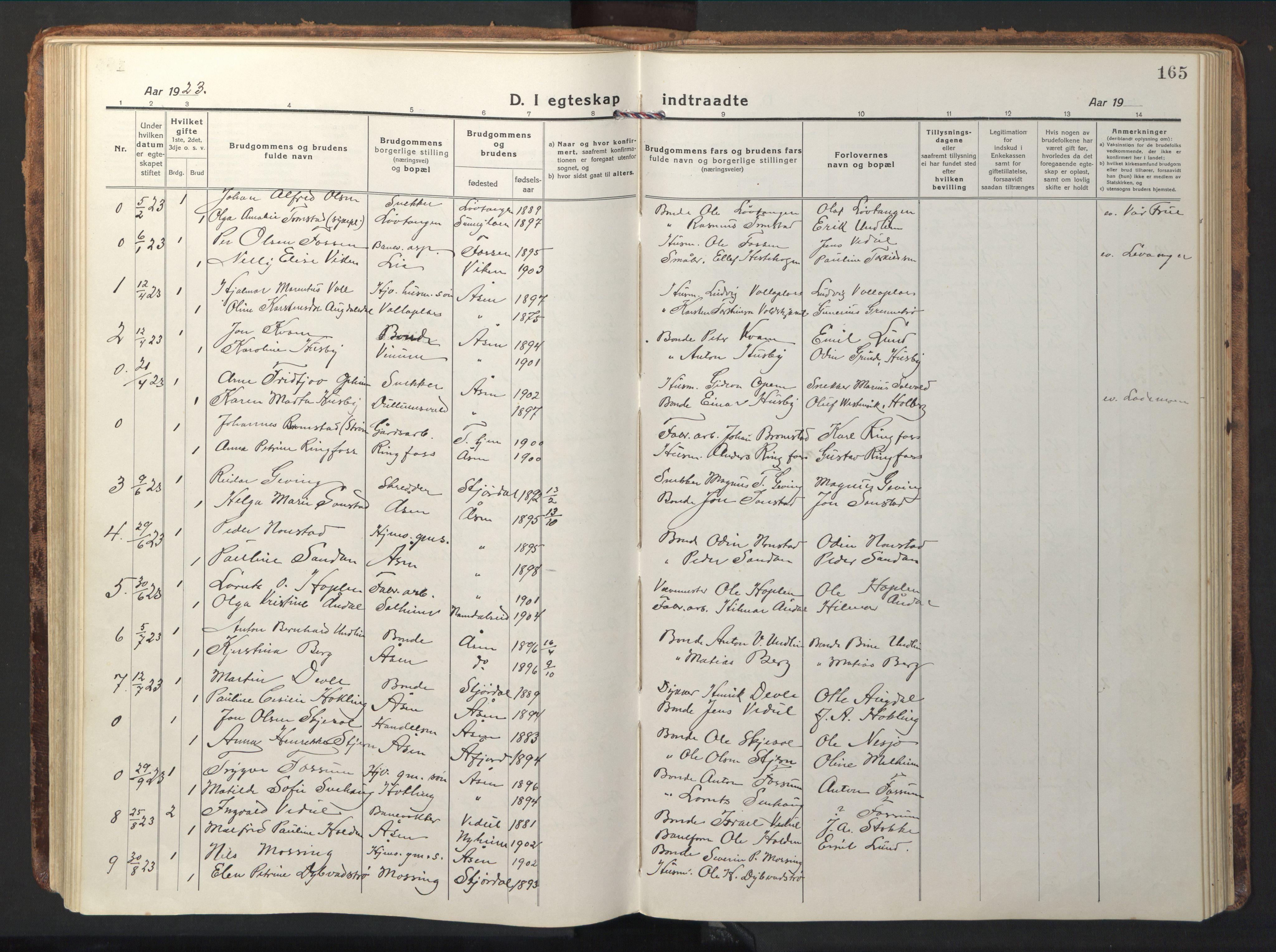 SAT, Ministerialprotokoller, klokkerbøker og fødselsregistre - Nord-Trøndelag, 714/L0136: Klokkerbok nr. 714C05, 1918-1957, s. 165