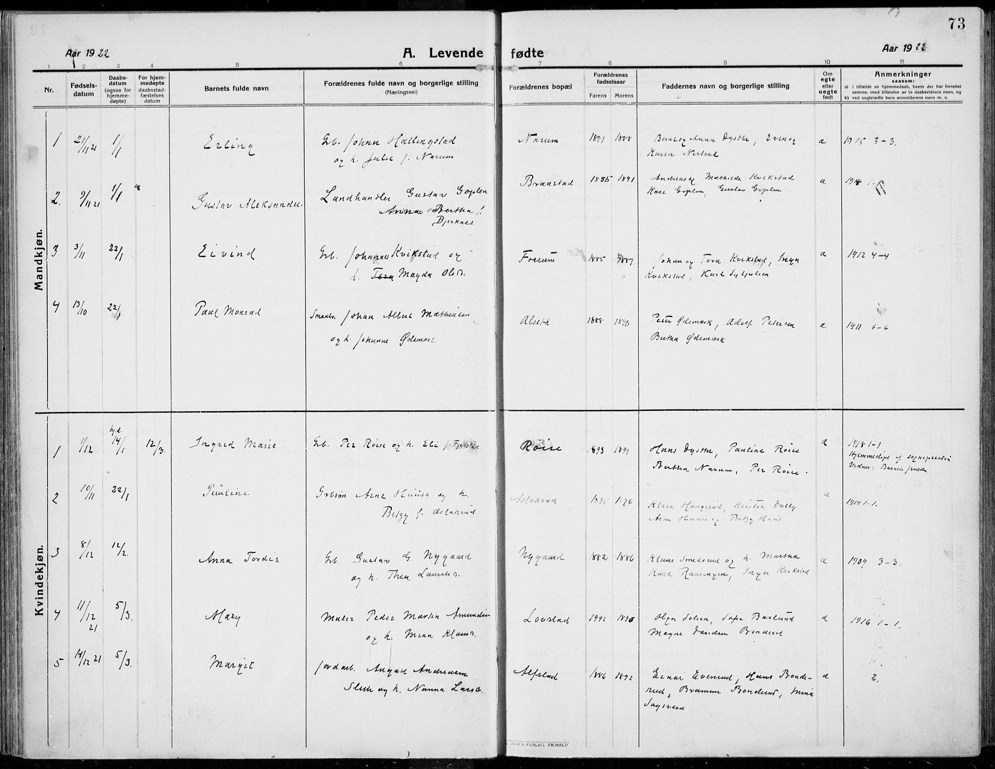 SAH, Kolbu prestekontor, Ministerialbok nr. 2, 1912-1926, s. 73
