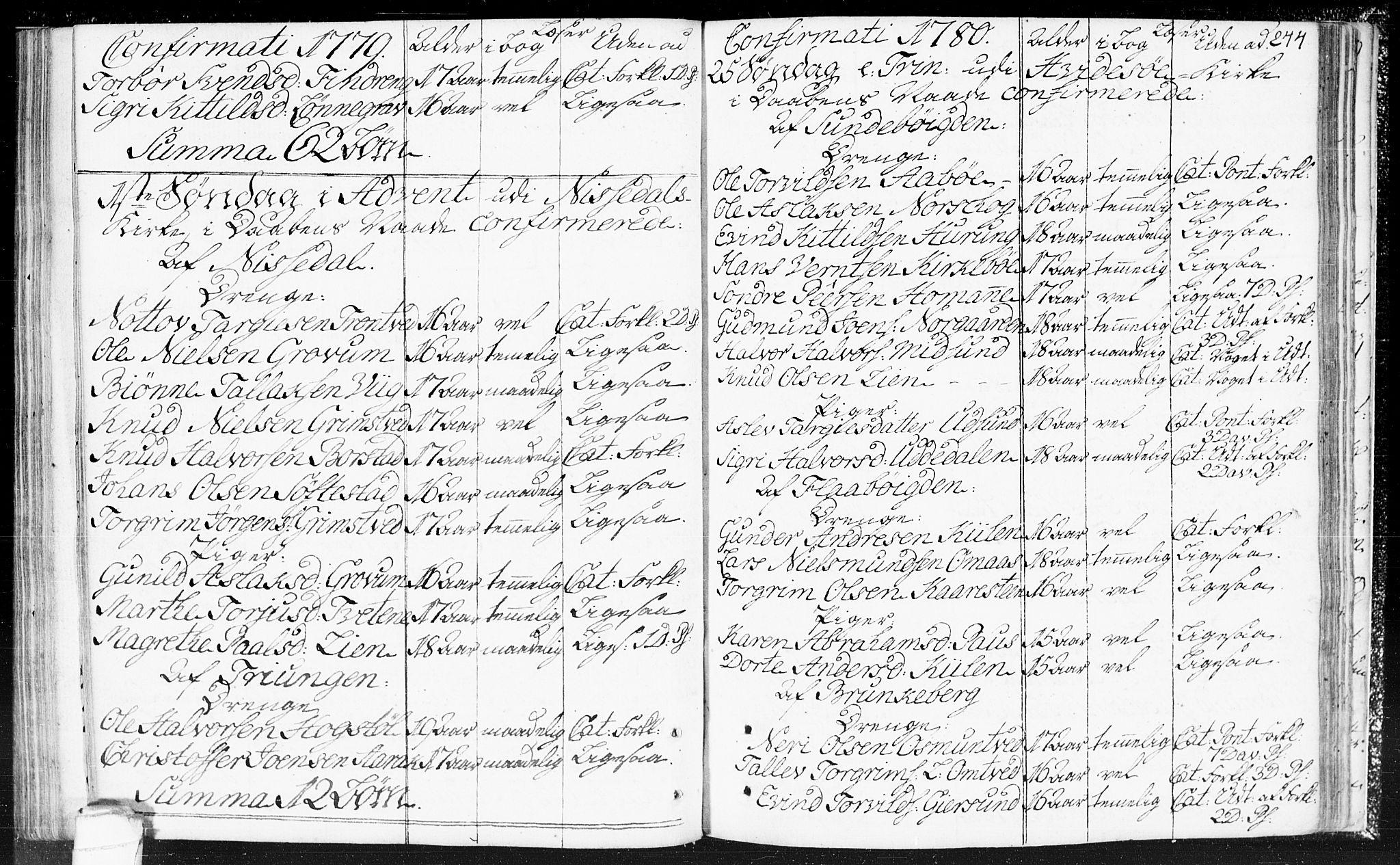 SAKO, Kviteseid kirkebøker, F/Fa/L0002: Ministerialbok nr. I 2, 1773-1786, s. 244