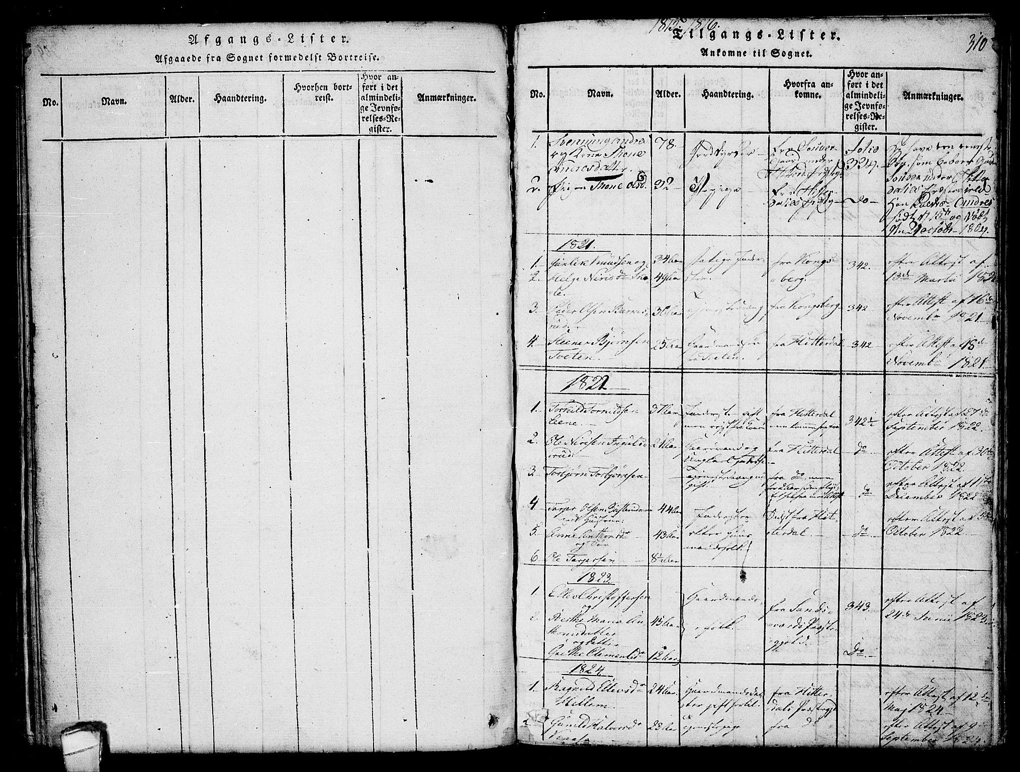 SAKO, Hjartdal kirkebøker, F/Fb/L0001: Ministerialbok nr. II 1, 1815-1843, s. 310