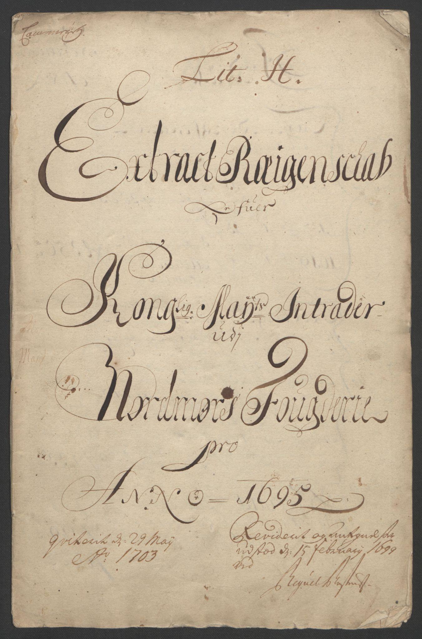 RA, Rentekammeret inntil 1814, Reviderte regnskaper, Fogderegnskap, R56/L3736: Fogderegnskap Nordmøre, 1694-1696, s. 182