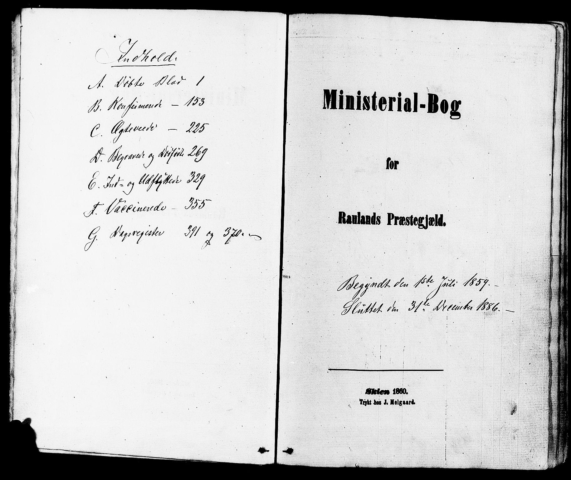SAKO, Rauland kirkebøker, F/Fa/L0003: Ministerialbok nr. 3, 1859-1886