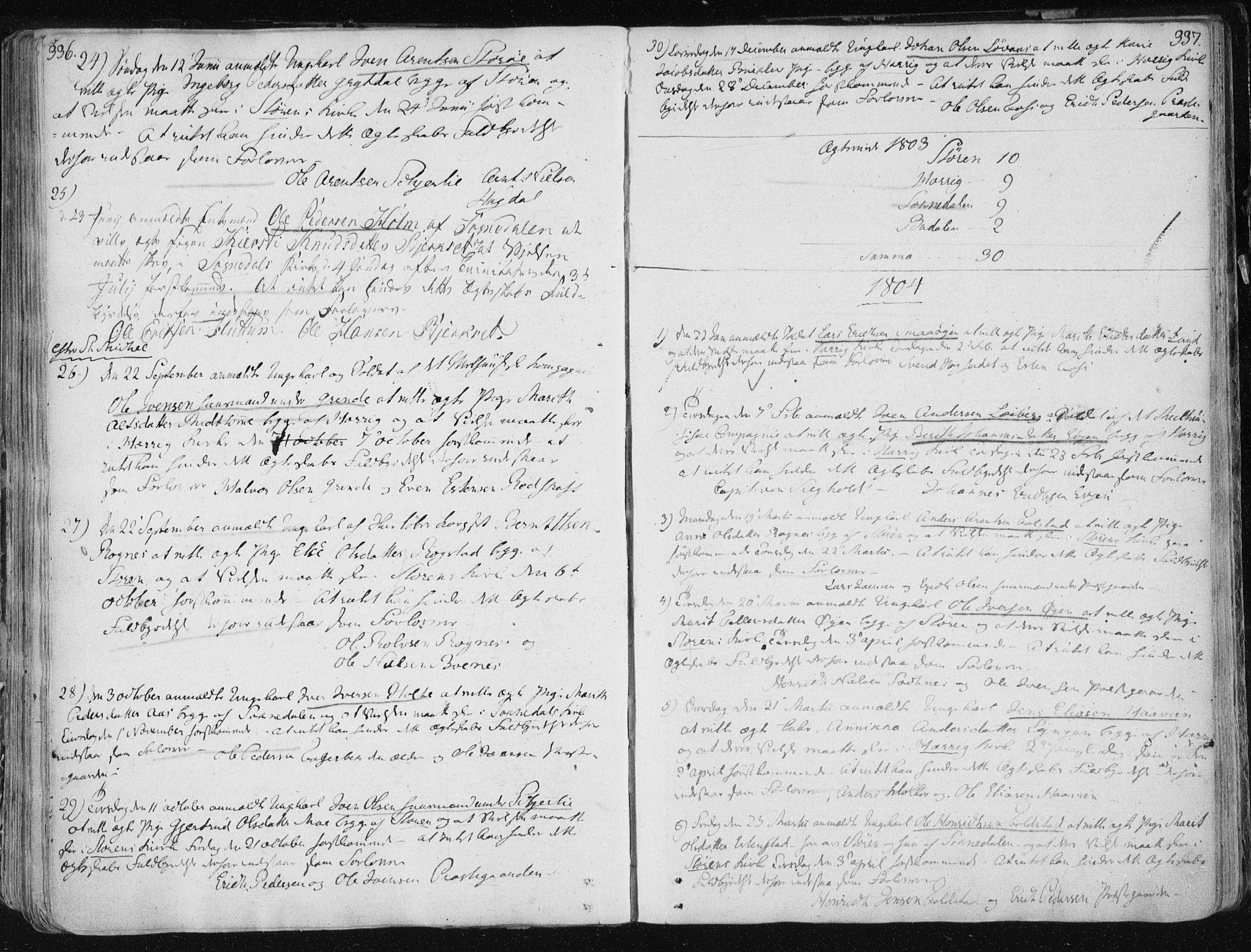 SAT, Ministerialprotokoller, klokkerbøker og fødselsregistre - Sør-Trøndelag, 687/L0992: Ministerialbok nr. 687A03 /1, 1788-1815, s. 336-337