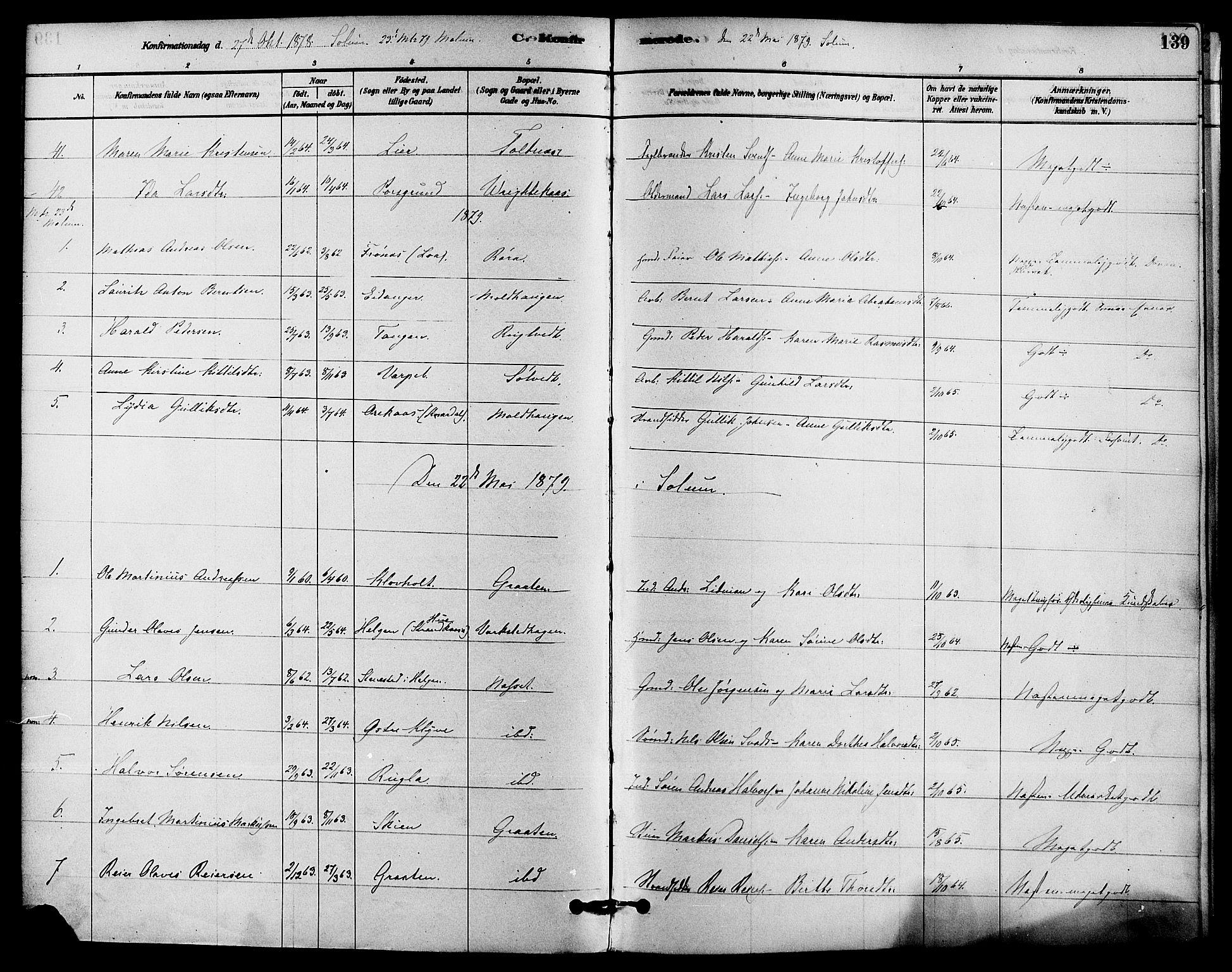 SAKO, Solum kirkebøker, F/Fa/L0009: Ministerialbok nr. I 9, 1877-1887, s. 139