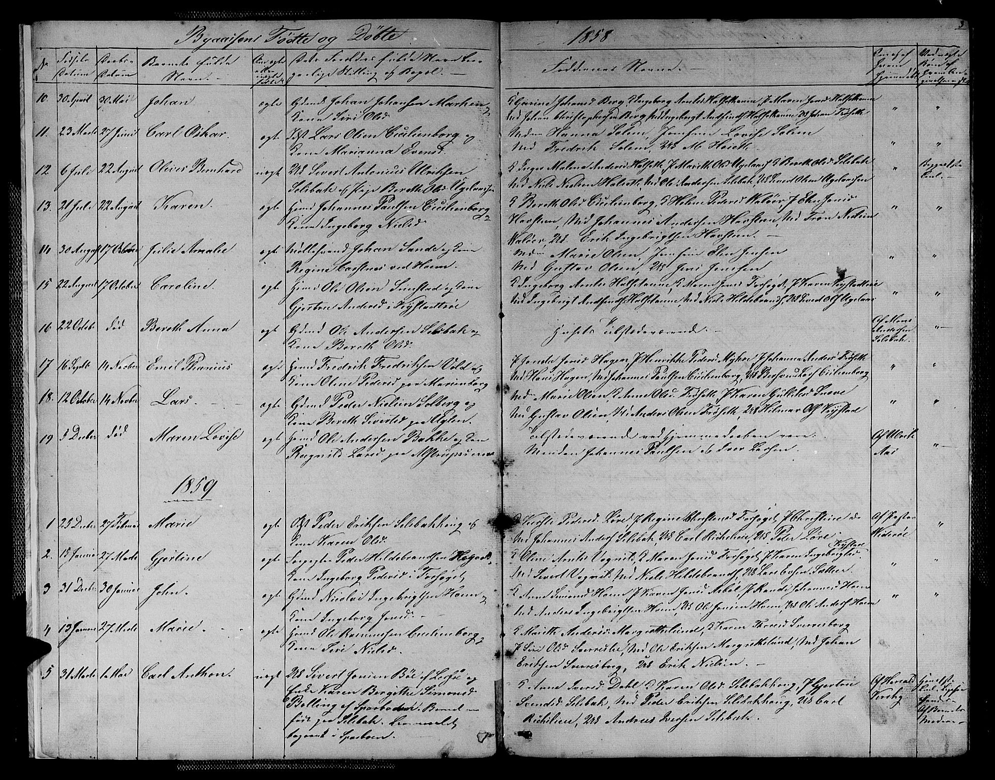 SAT, Ministerialprotokoller, klokkerbøker og fødselsregistre - Sør-Trøndelag, 611/L0353: Klokkerbok nr. 611C01, 1854-1881, s. 3