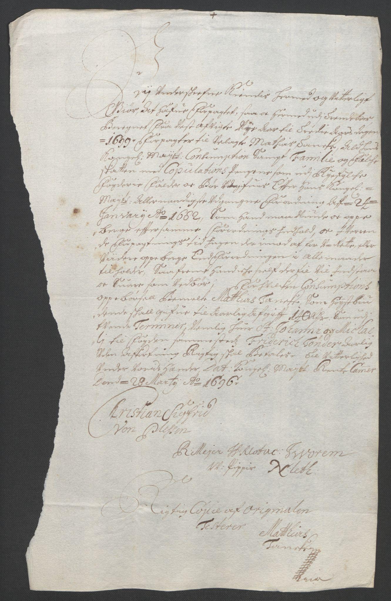 RA, Rentekammeret inntil 1814, Reviderte regnskaper, Fogderegnskap, R47/L2857: Fogderegnskap Ryfylke, 1694-1696, s. 273