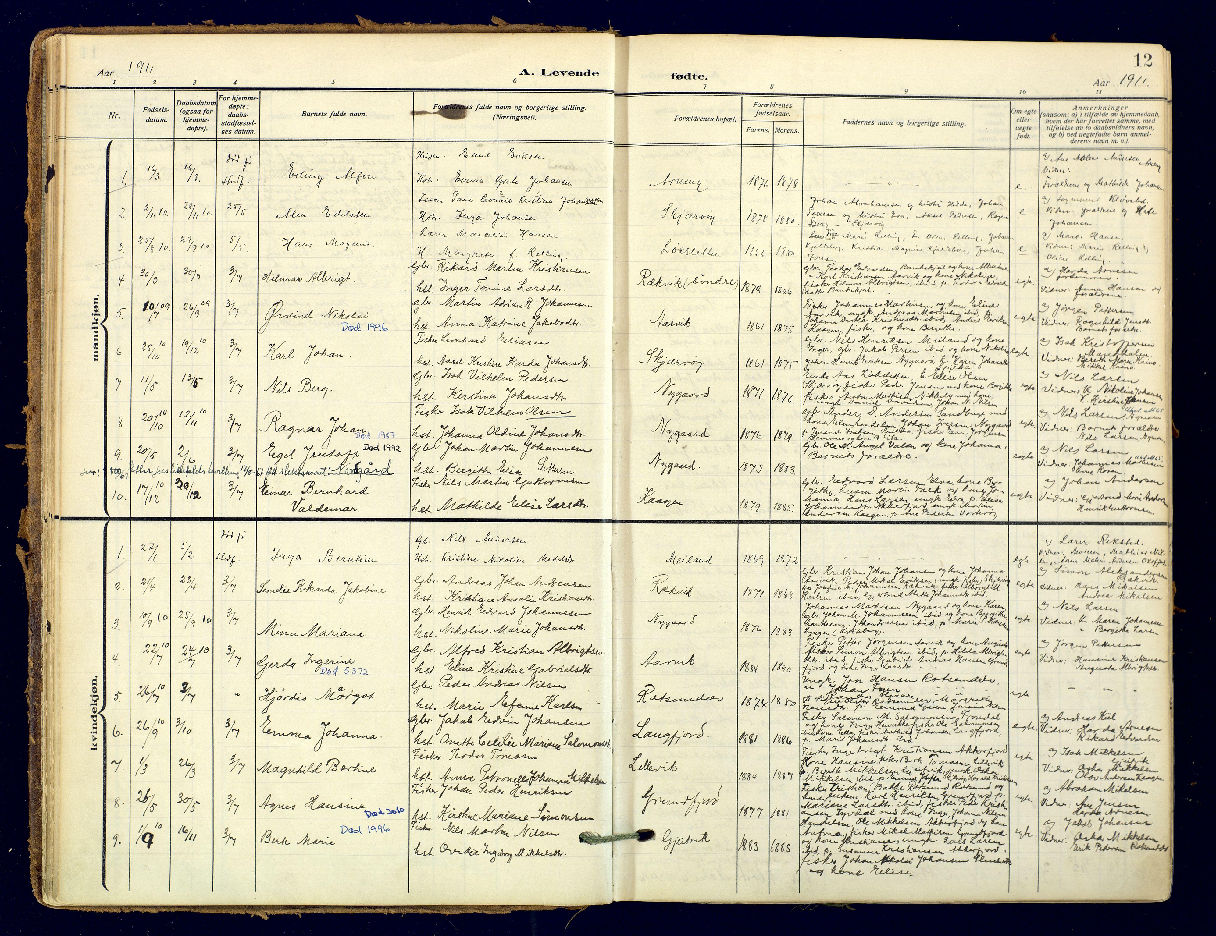 SATØ, Skjervøy sokneprestkontor, H/Ha/Haa: Ministerialbok nr. 18, 1910-1926, s. 12