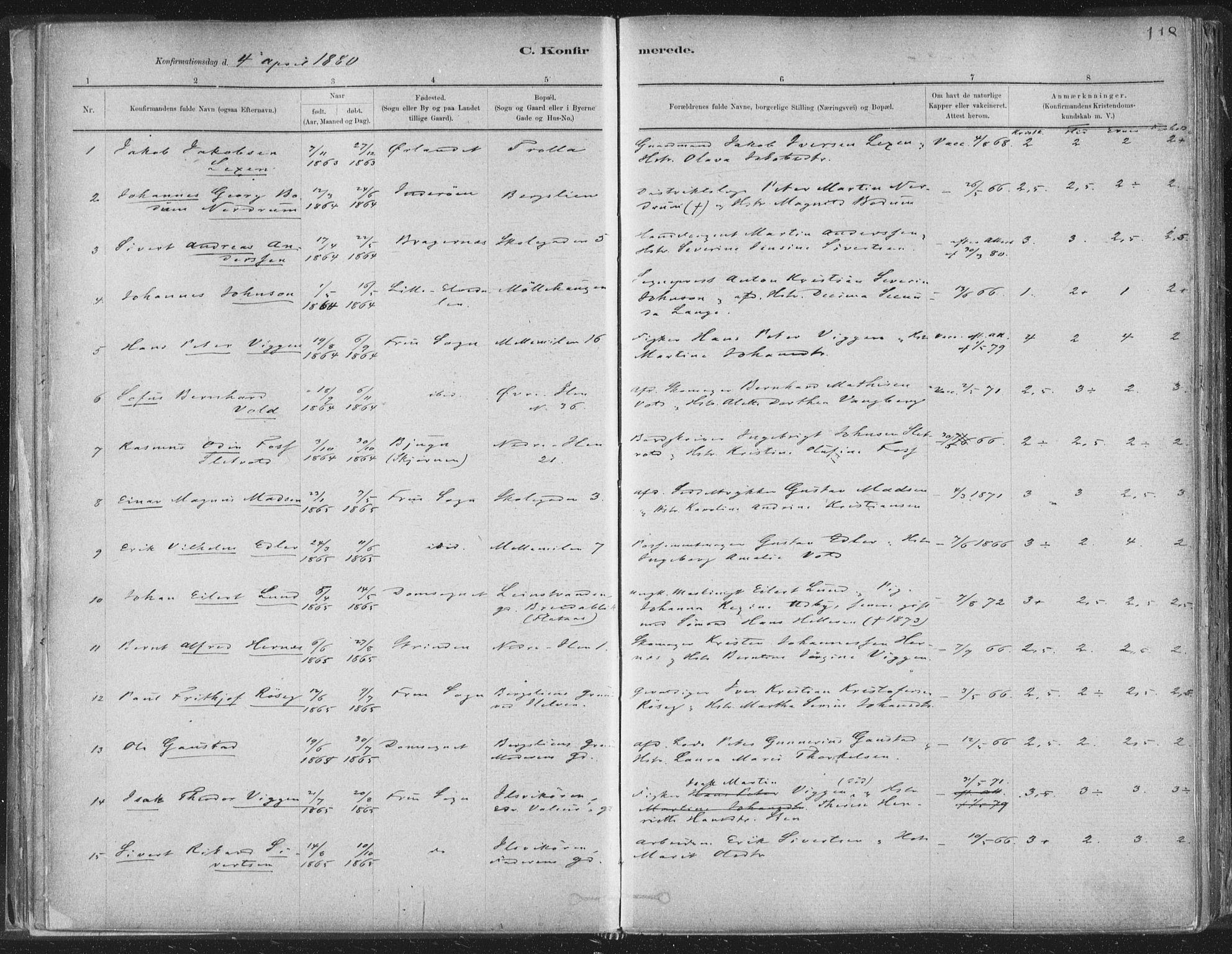 SAT, Ministerialprotokoller, klokkerbøker og fødselsregistre - Sør-Trøndelag, 603/L0162: Ministerialbok nr. 603A01, 1879-1895, s. 118