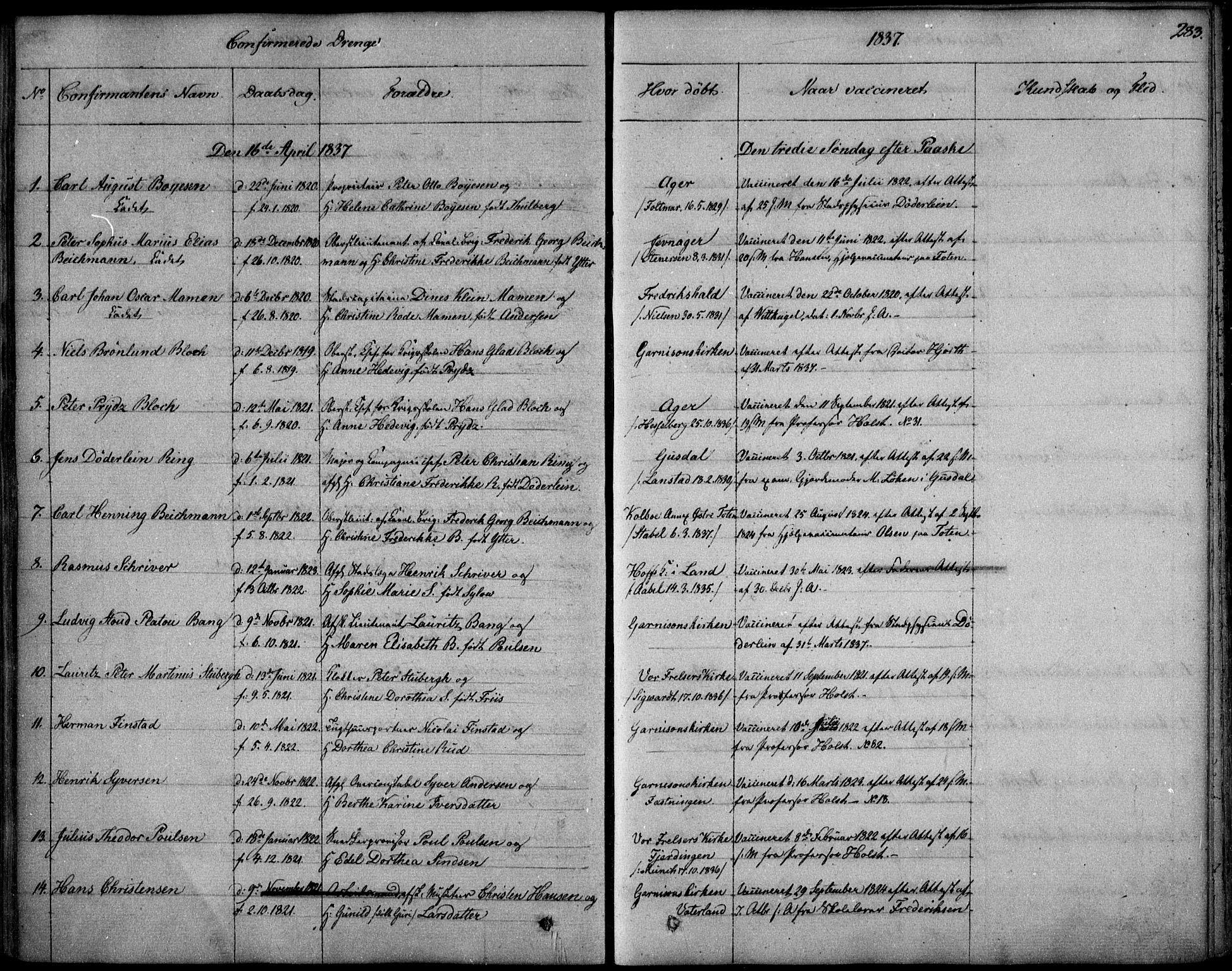 SAO, Garnisonsmenigheten Kirkebøker, F/Fa/L0006: Ministerialbok nr. 6, 1828-1841, s. 283