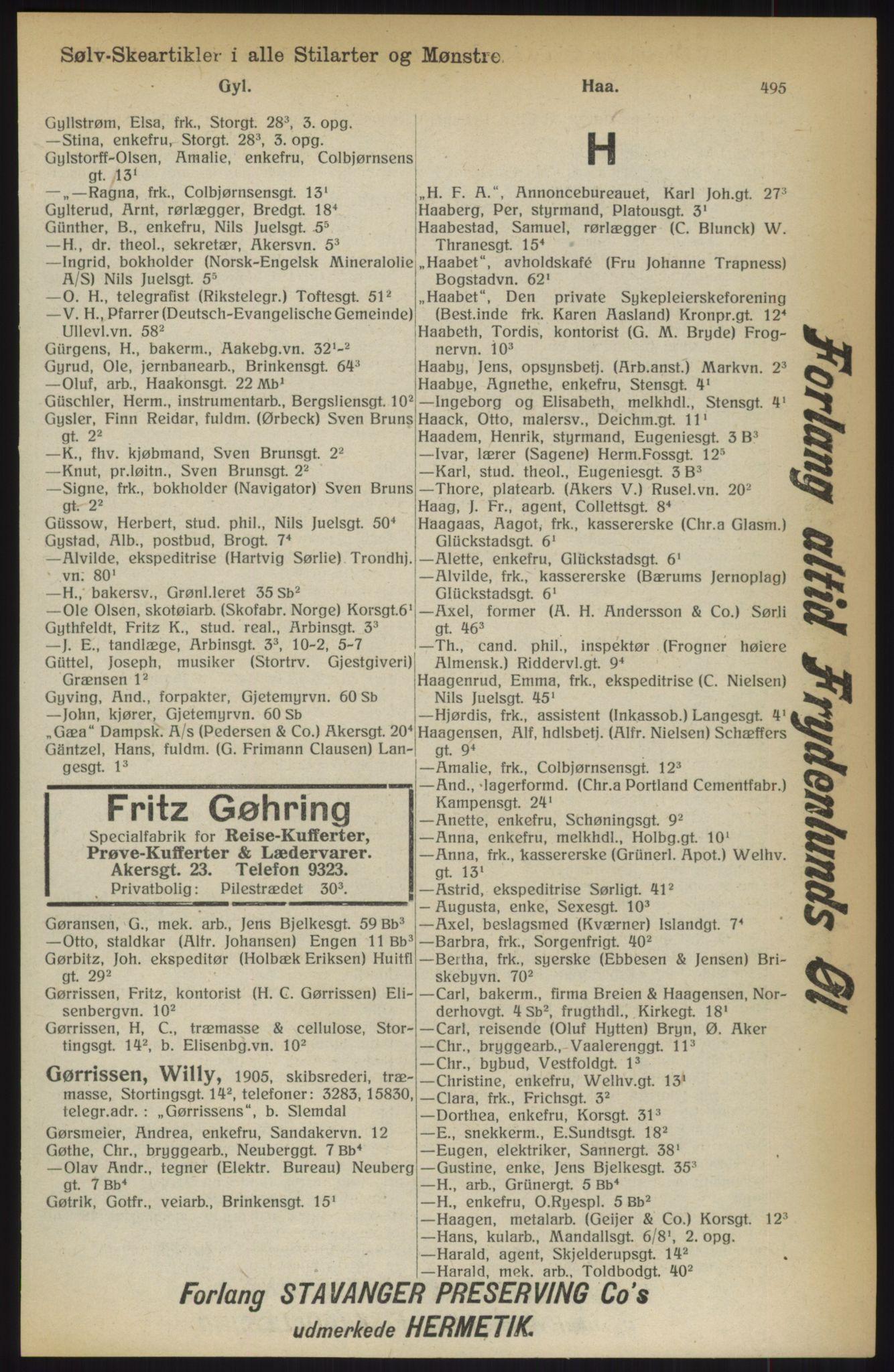 RA, Kristiania adressebok (publikasjon)*, 1914, s. 495