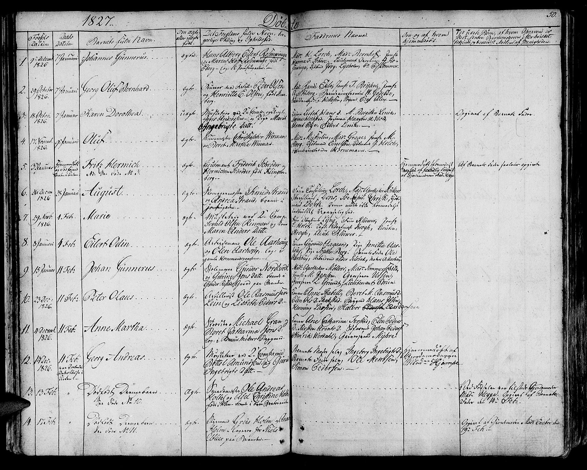 SAT, Ministerialprotokoller, klokkerbøker og fødselsregistre - Sør-Trøndelag, 602/L0108: Ministerialbok nr. 602A06, 1821-1839, s. 50