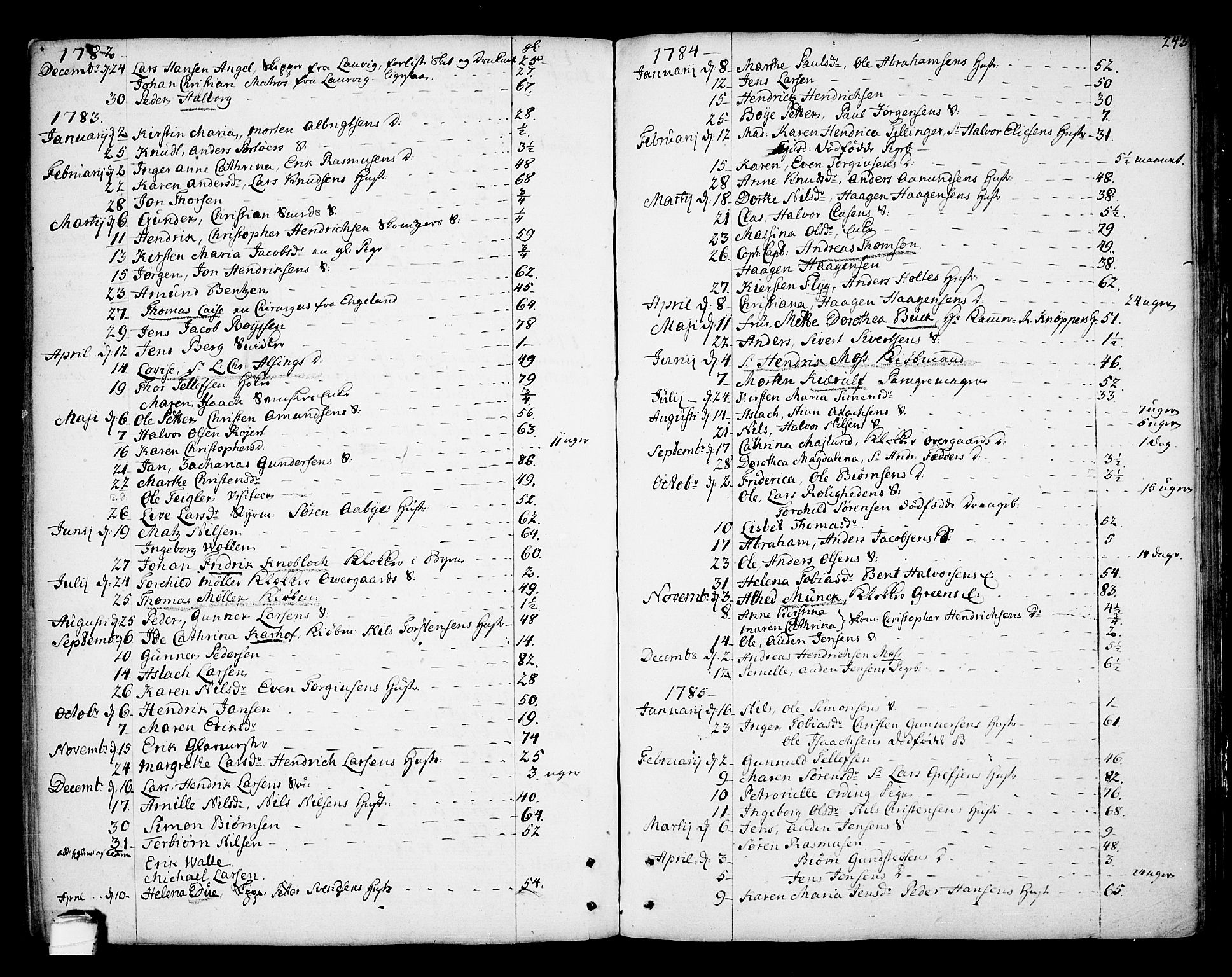 SAKO, Kragerø kirkebøker, F/Fa/L0002: Ministerialbok nr. 2, 1767-1802, s. 243