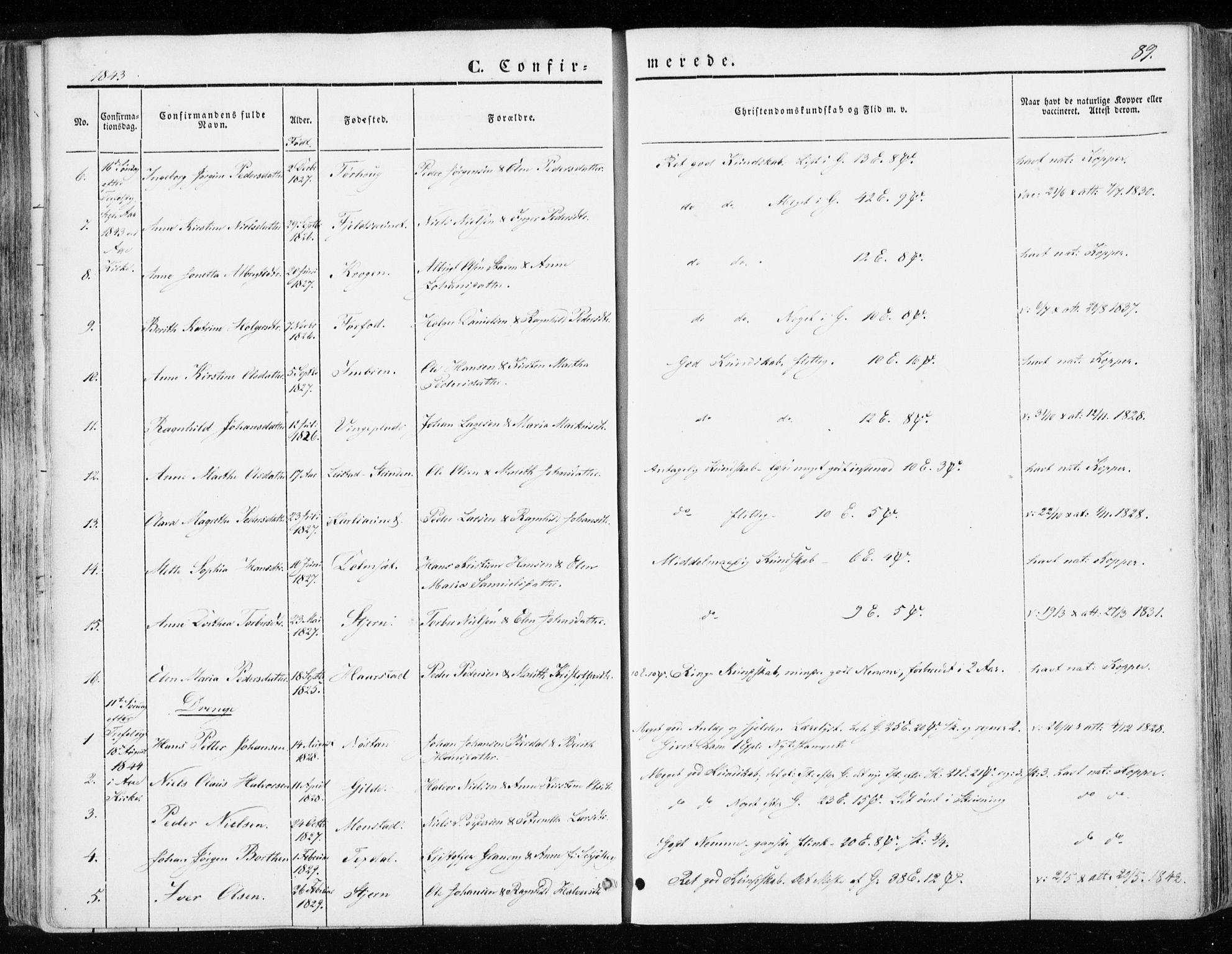 SAT, Ministerialprotokoller, klokkerbøker og fødselsregistre - Sør-Trøndelag, 655/L0677: Ministerialbok nr. 655A06, 1847-1860, s. 89