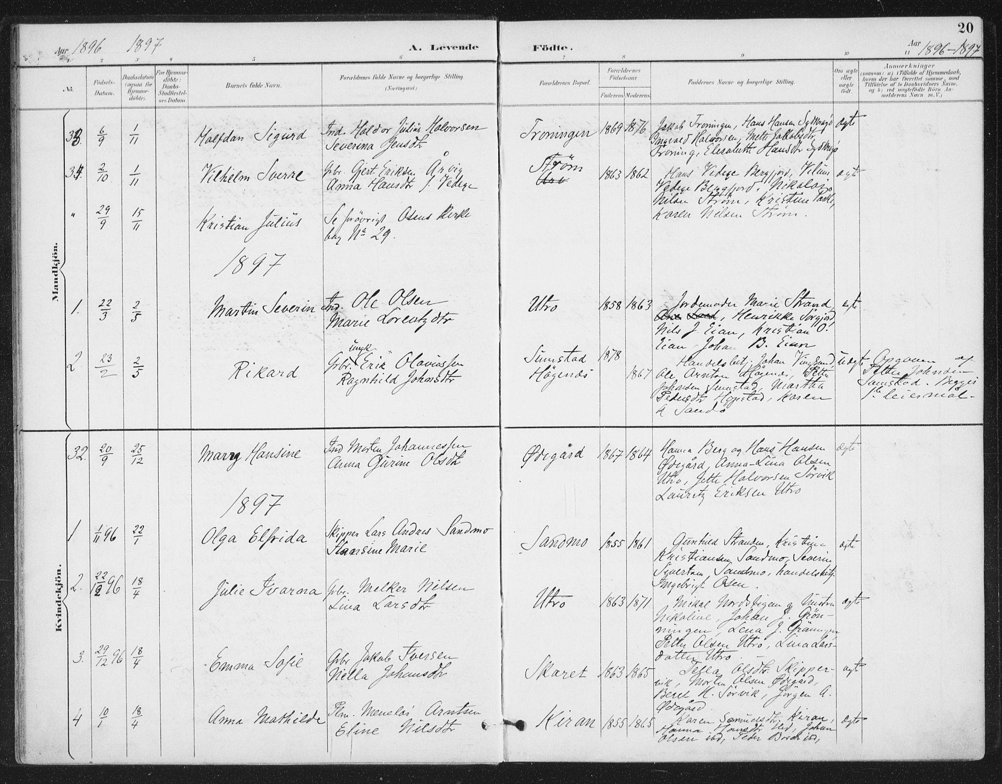 SAT, Ministerialprotokoller, klokkerbøker og fødselsregistre - Sør-Trøndelag, 657/L0708: Ministerialbok nr. 657A09, 1894-1904, s. 20