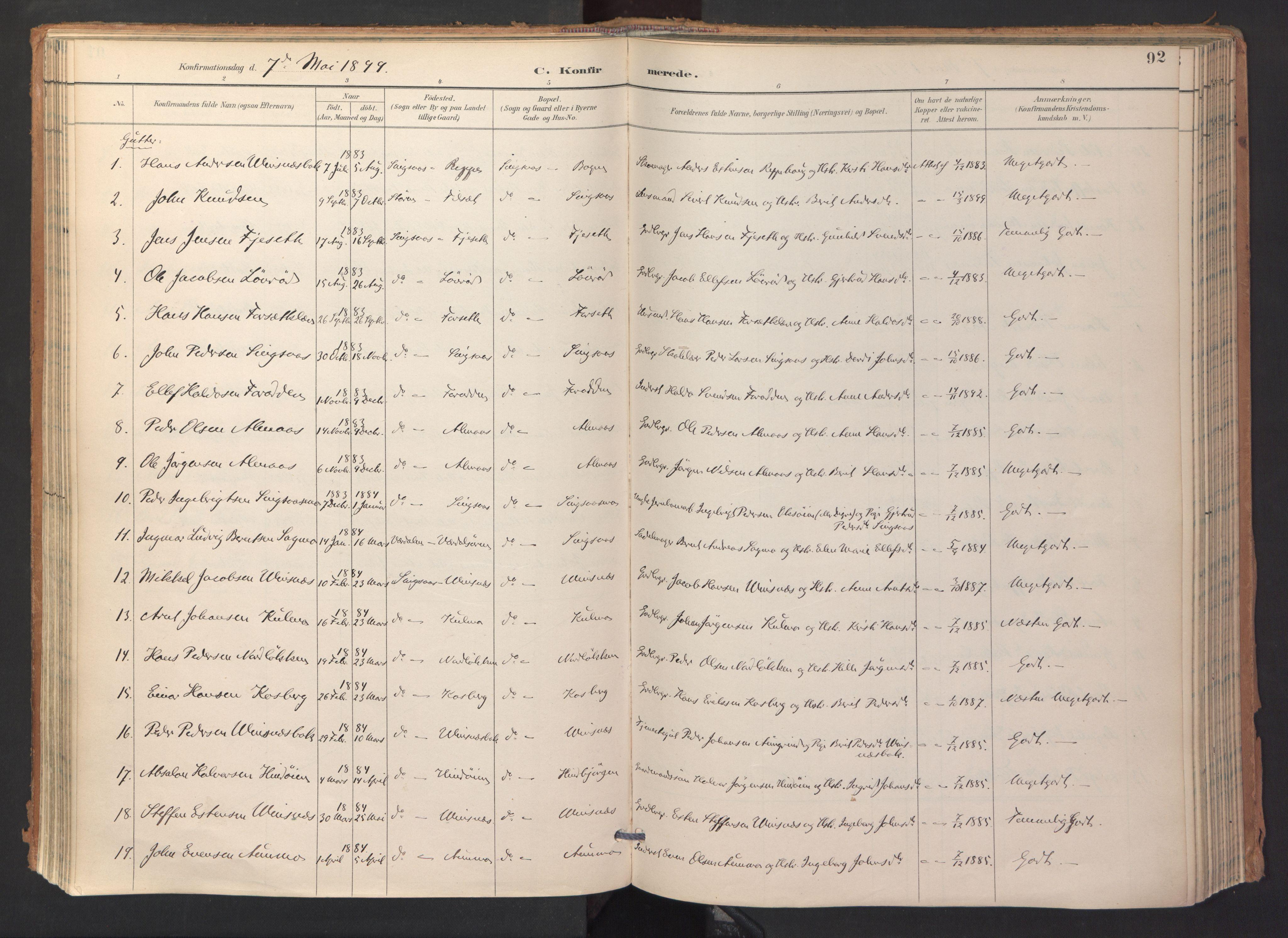 SAT, Ministerialprotokoller, klokkerbøker og fødselsregistre - Sør-Trøndelag, 688/L1025: Ministerialbok nr. 688A02, 1891-1909, s. 92