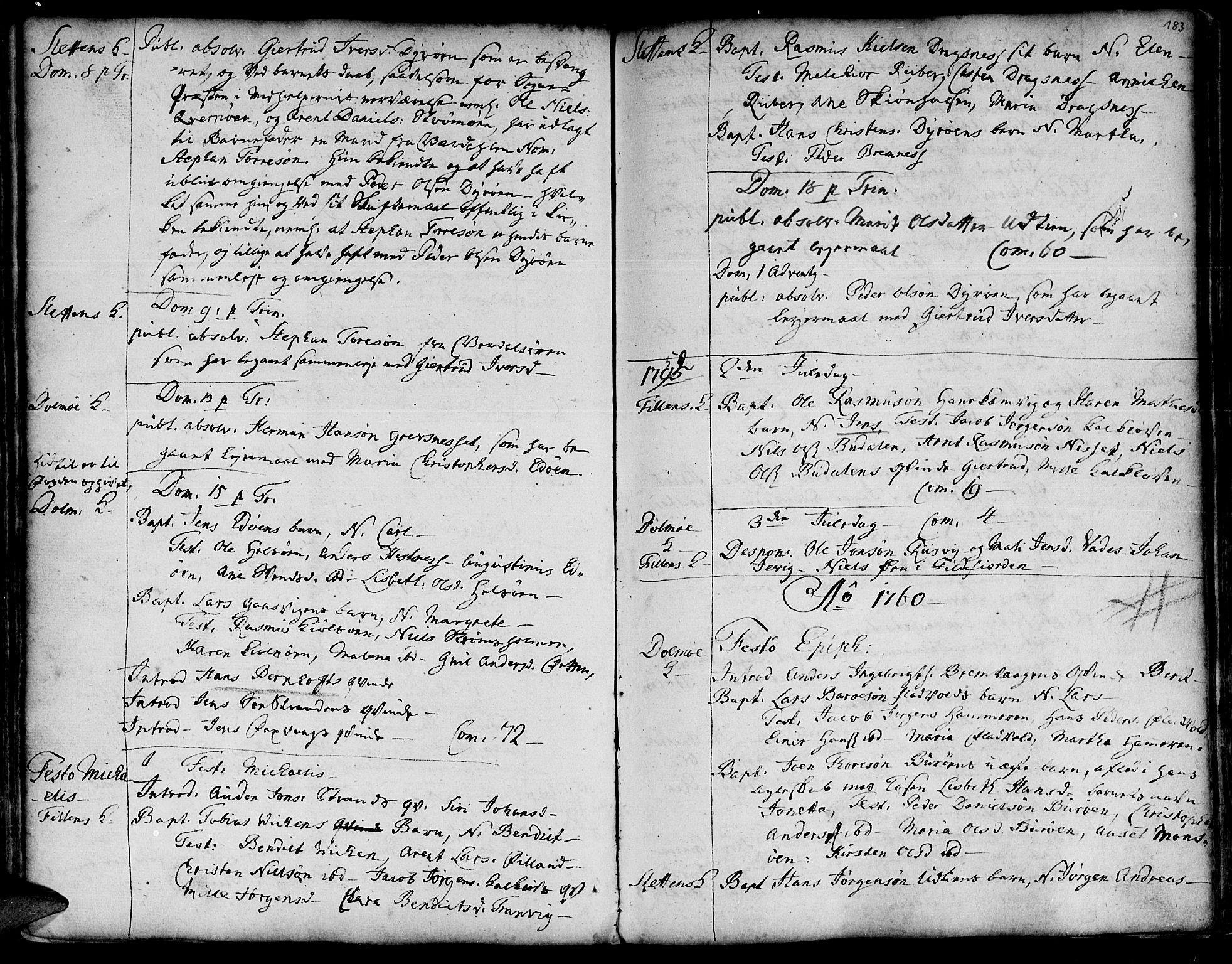 SAT, Ministerialprotokoller, klokkerbøker og fødselsregistre - Sør-Trøndelag, 634/L0525: Ministerialbok nr. 634A01, 1736-1775, s. 183