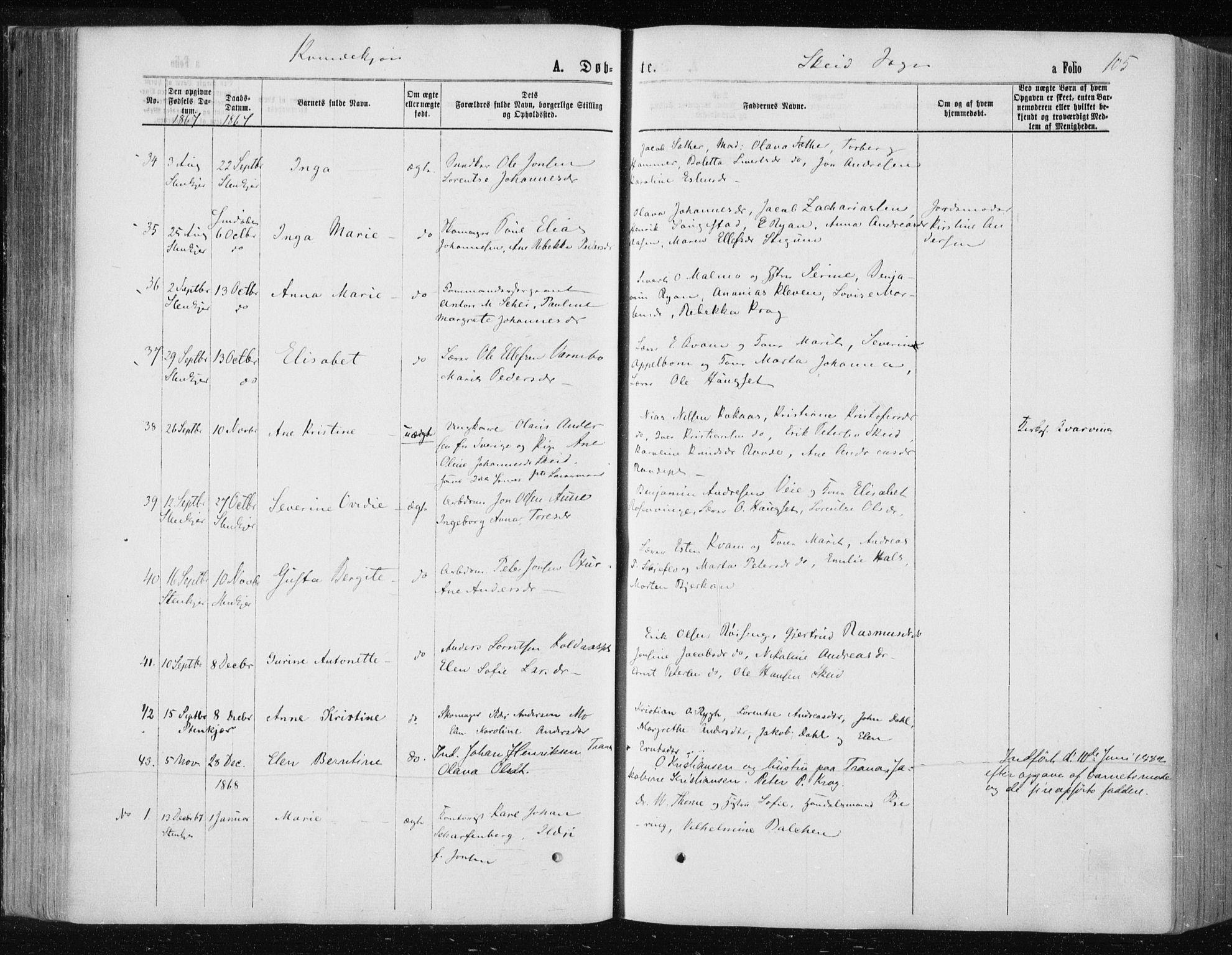 SAT, Ministerialprotokoller, klokkerbøker og fødselsregistre - Nord-Trøndelag, 735/L0345: Ministerialbok nr. 735A08 /2, 1863-1872, s. 105