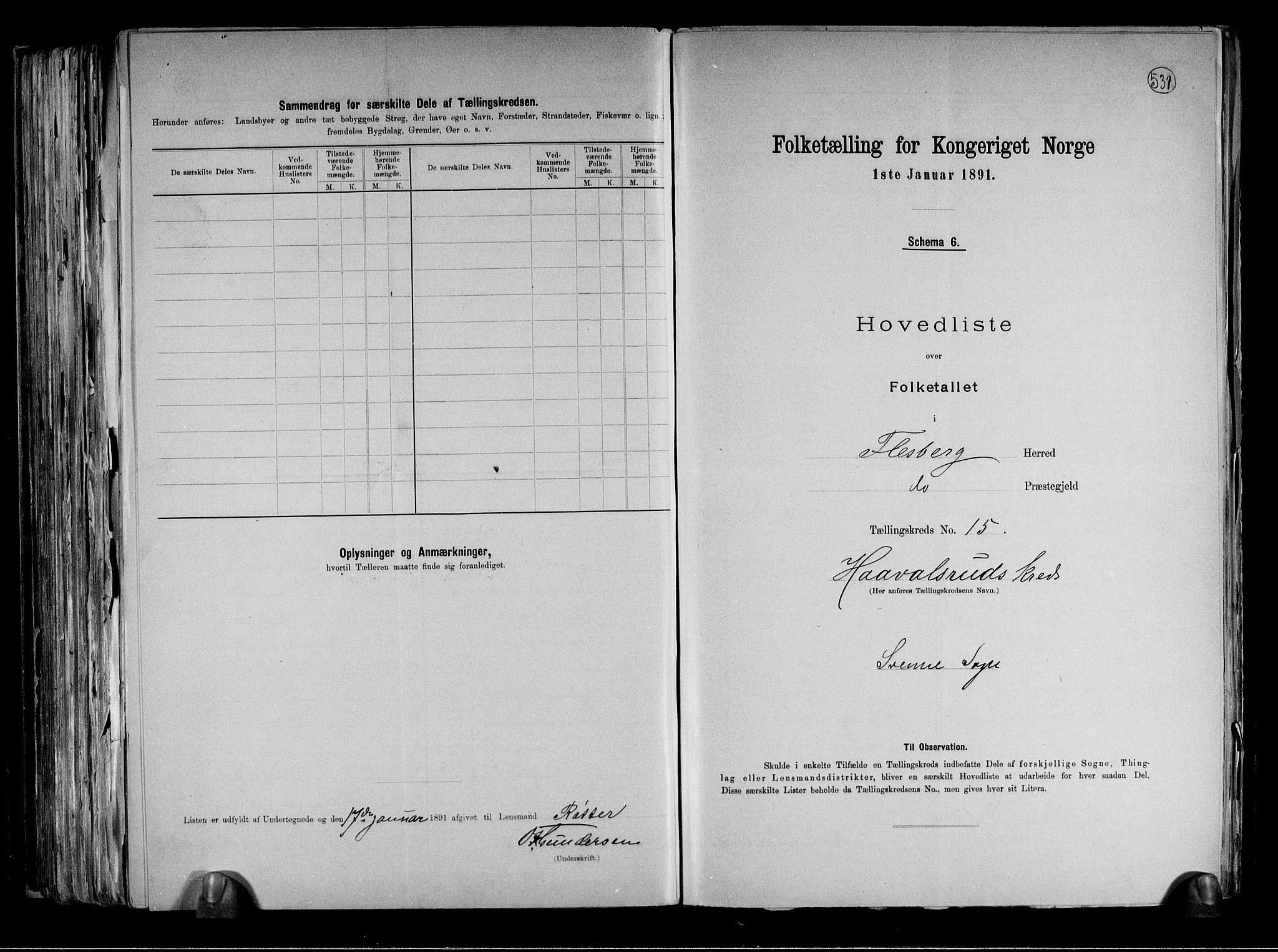 RA, Folketelling 1891 for 0631 Flesberg herred, 1891, s. 36