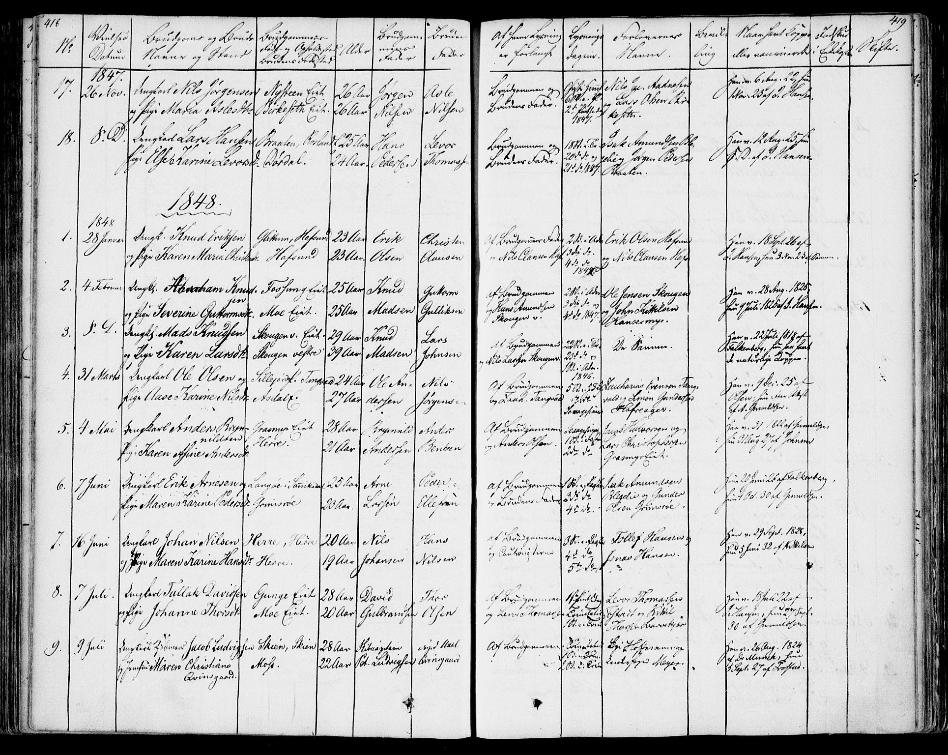 SAKO, Bamble kirkebøker, F/Fa/L0004: Ministerialbok nr. I 4, 1834-1853, s. 418-419