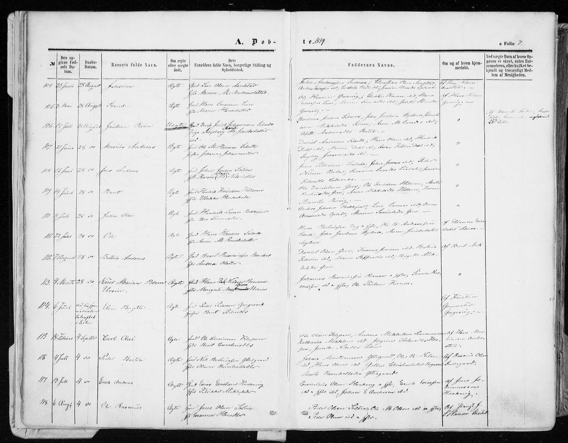 SATØ, Ibestad sokneprestembete, Ministerialbok nr. 9, 1859-1868, s. 7