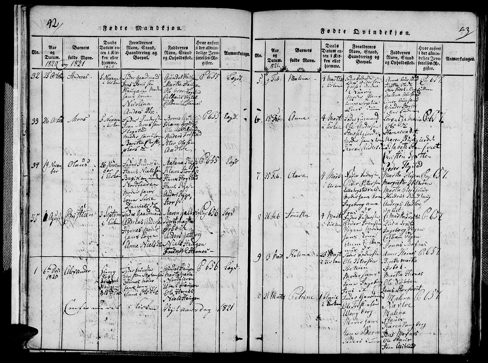 SAT, Ministerialprotokoller, klokkerbøker og fødselsregistre - Nord-Trøndelag, 713/L0124: Klokkerbok nr. 713C01, 1817-1827, s. 42-43