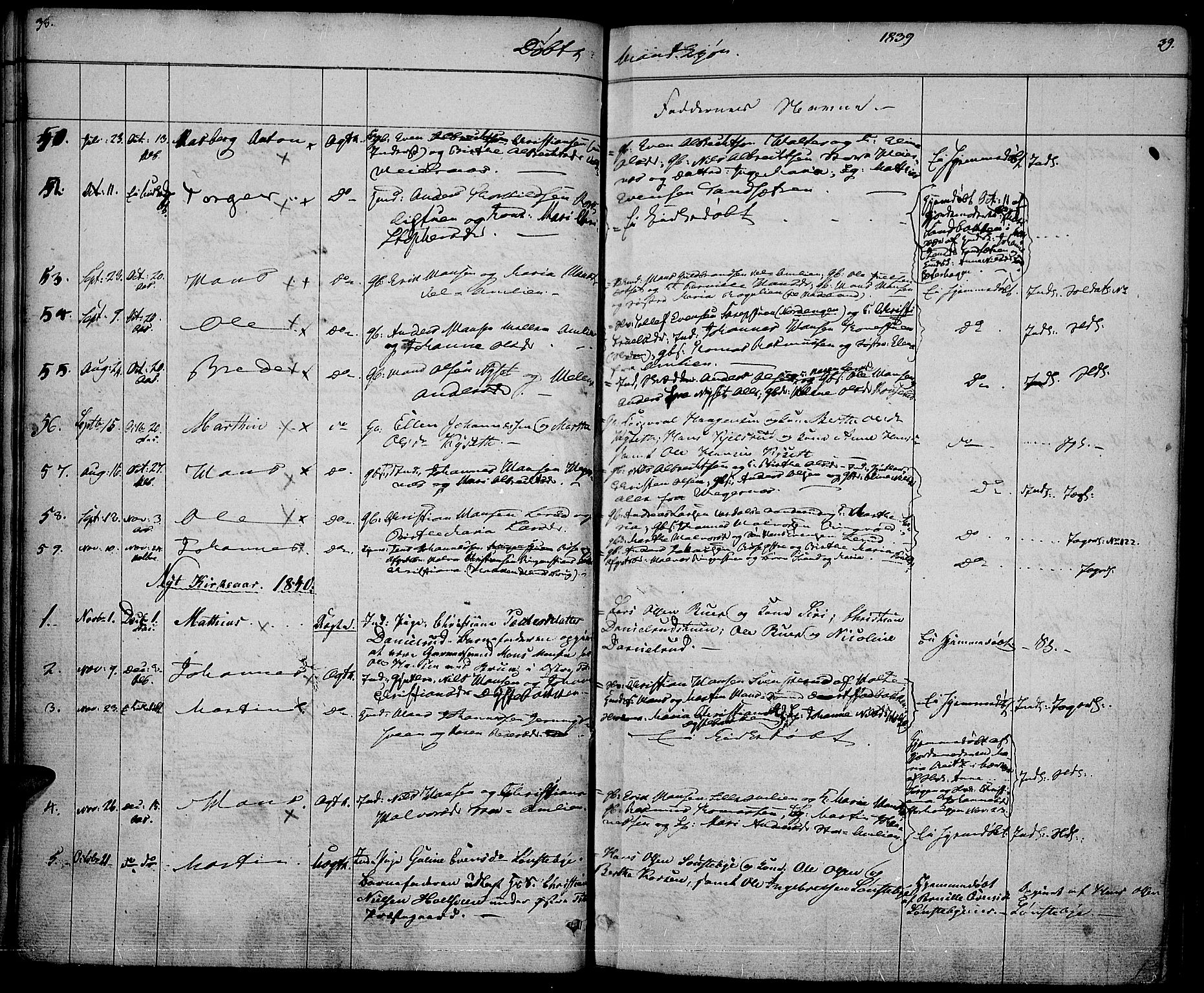 SAH, Vestre Toten prestekontor, Ministerialbok nr. 3, 1836-1843, s. 38-39
