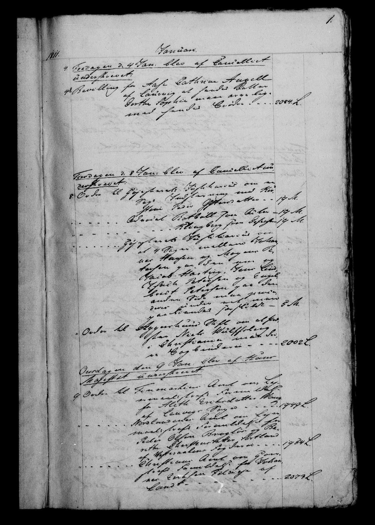 RA, Danske Kanselli 1800-1814, H/Hf/Hfb/Hfbc/L0012: Underskrivelsesbok m. register, 1811, s. 1