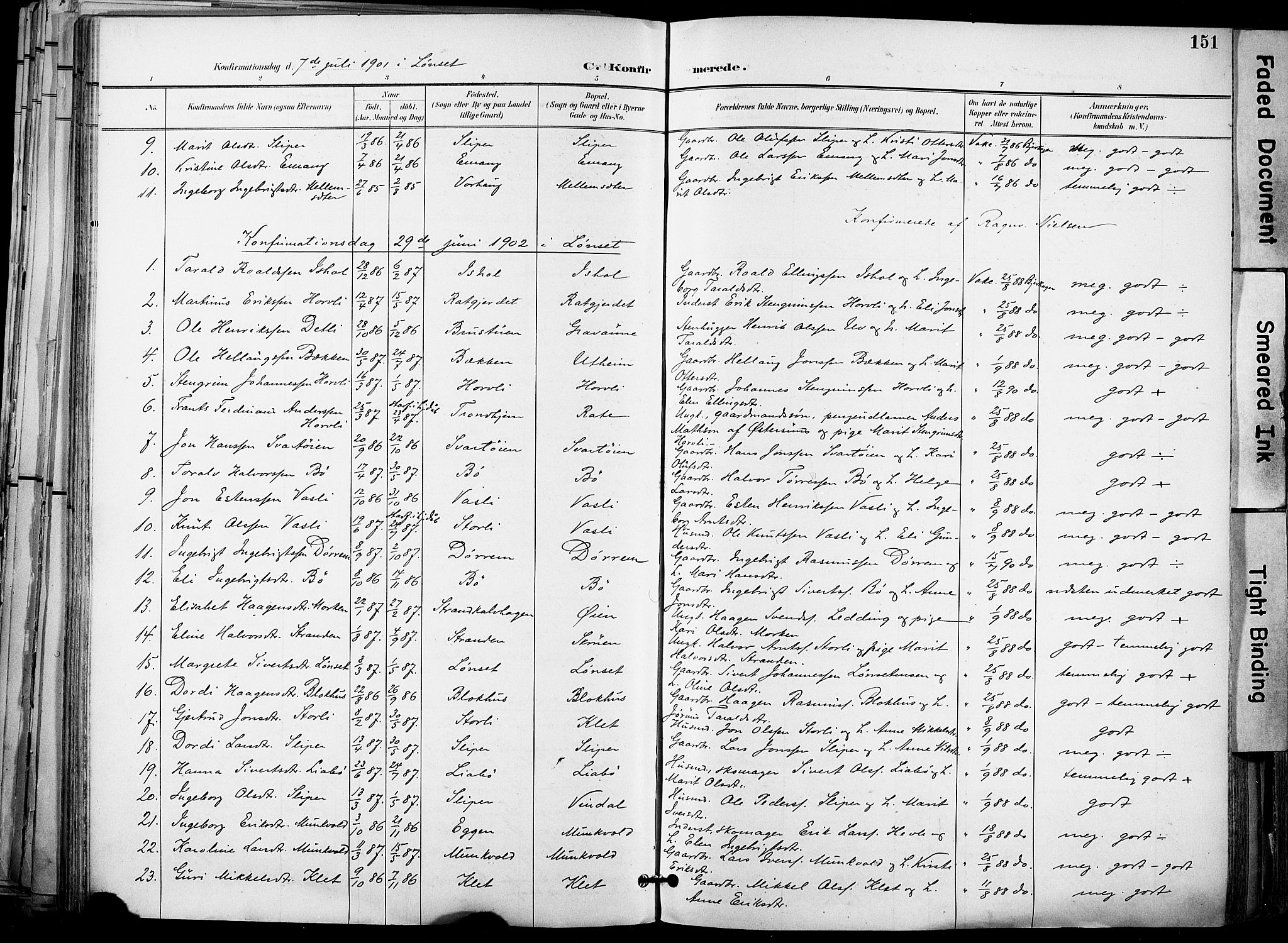 SAT, Ministerialprotokoller, klokkerbøker og fødselsregistre - Sør-Trøndelag, 678/L0902: Ministerialbok nr. 678A11, 1895-1911, s. 151