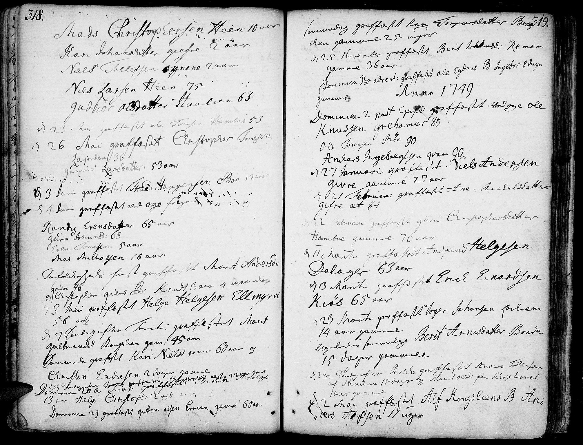 SAH, Vang prestekontor, Valdres, Ministerialbok nr. 1, 1730-1796, s. 318-319