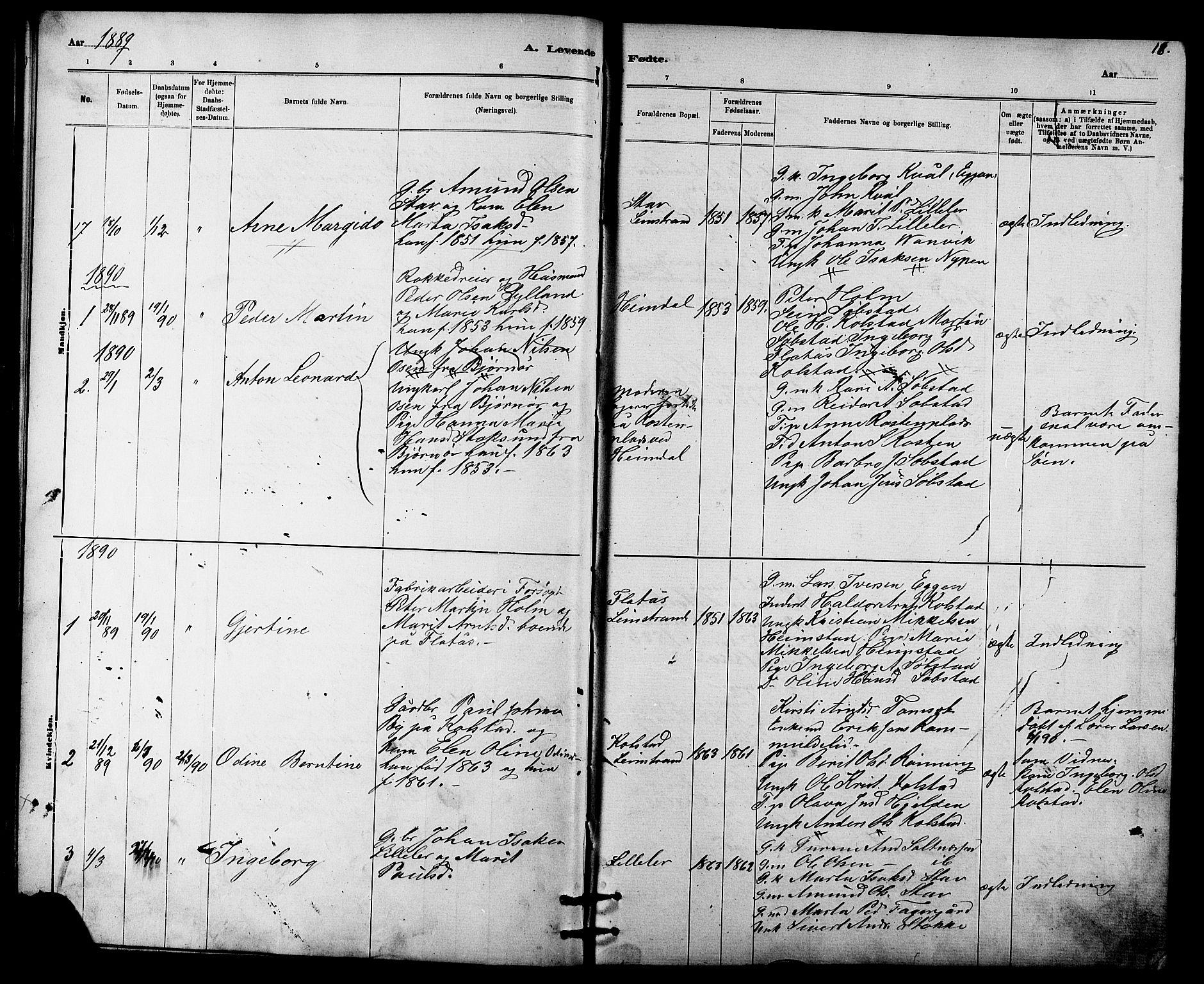 SAT, Ministerialprotokoller, klokkerbøker og fødselsregistre - Sør-Trøndelag, 613/L0395: Klokkerbok nr. 613C03, 1887-1909, s. 18
