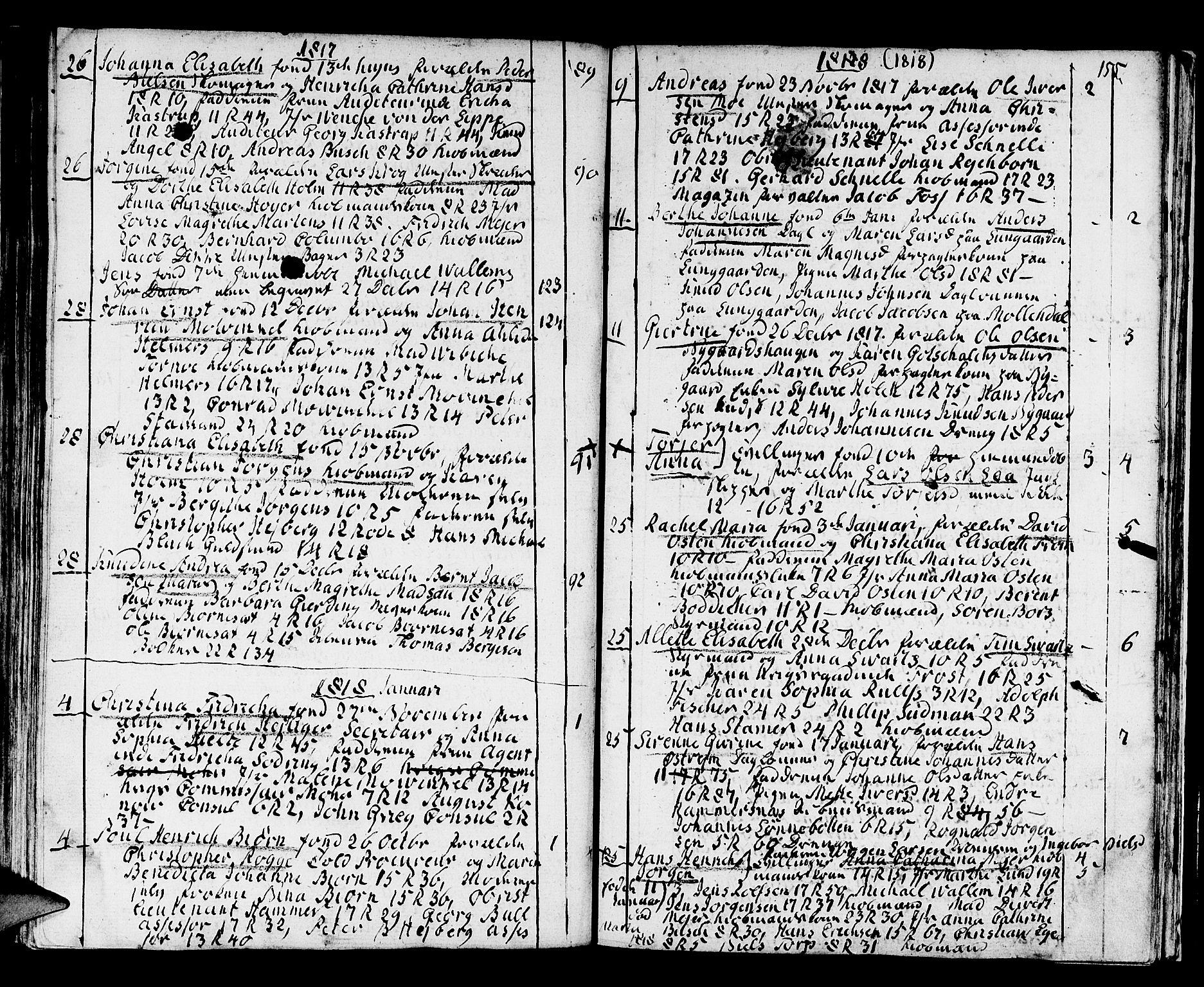 SAB, Domkirken Sokneprestembete, H/Haa/L0005: Ministerialbok nr. A 5, 1808-1820, s. 154-155