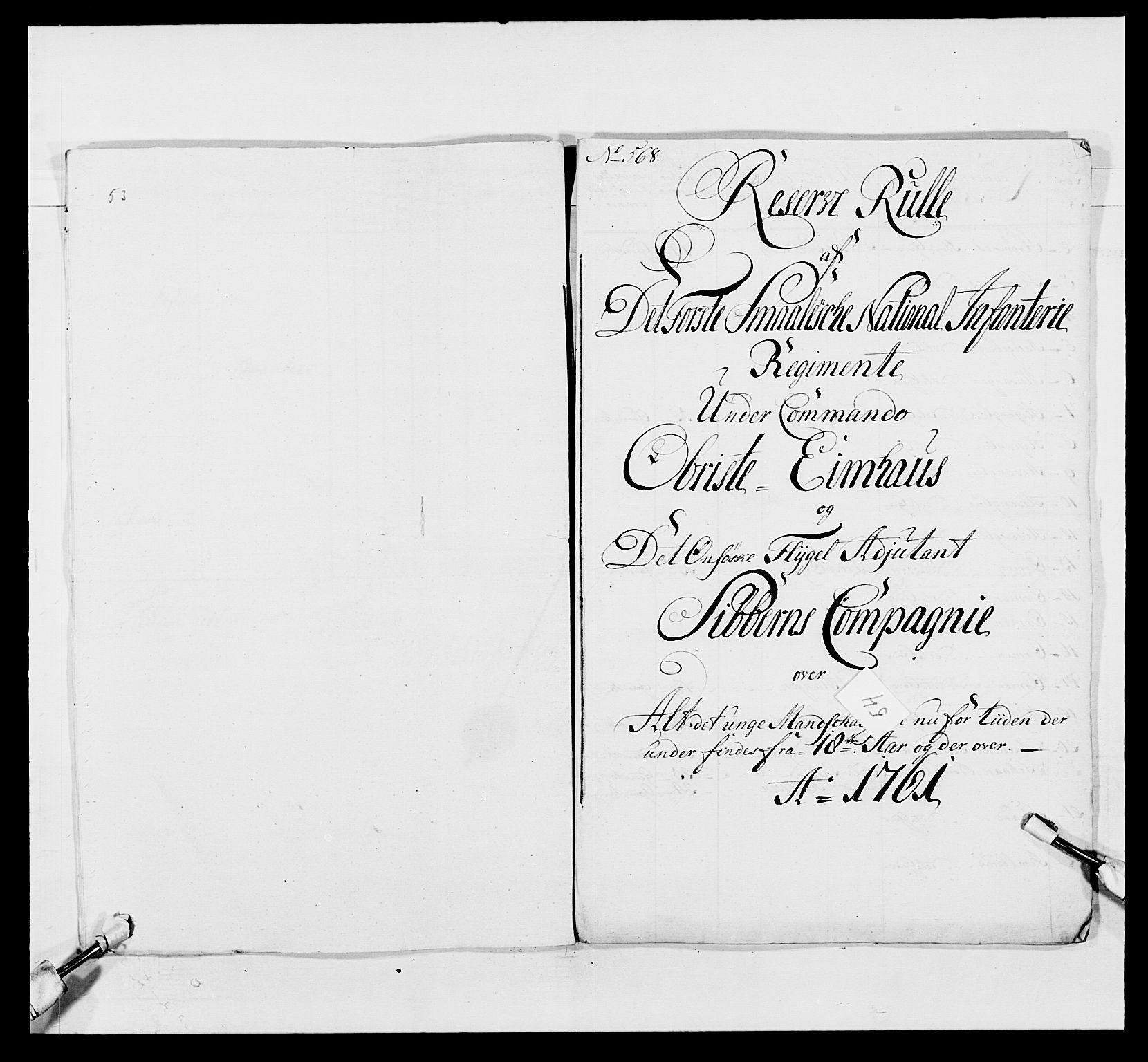 RA, Kommanderende general (KG I) med Det norske krigsdirektorium, E/Ea/L0495: 1. Smålenske regiment, 1732-1763, s. 701