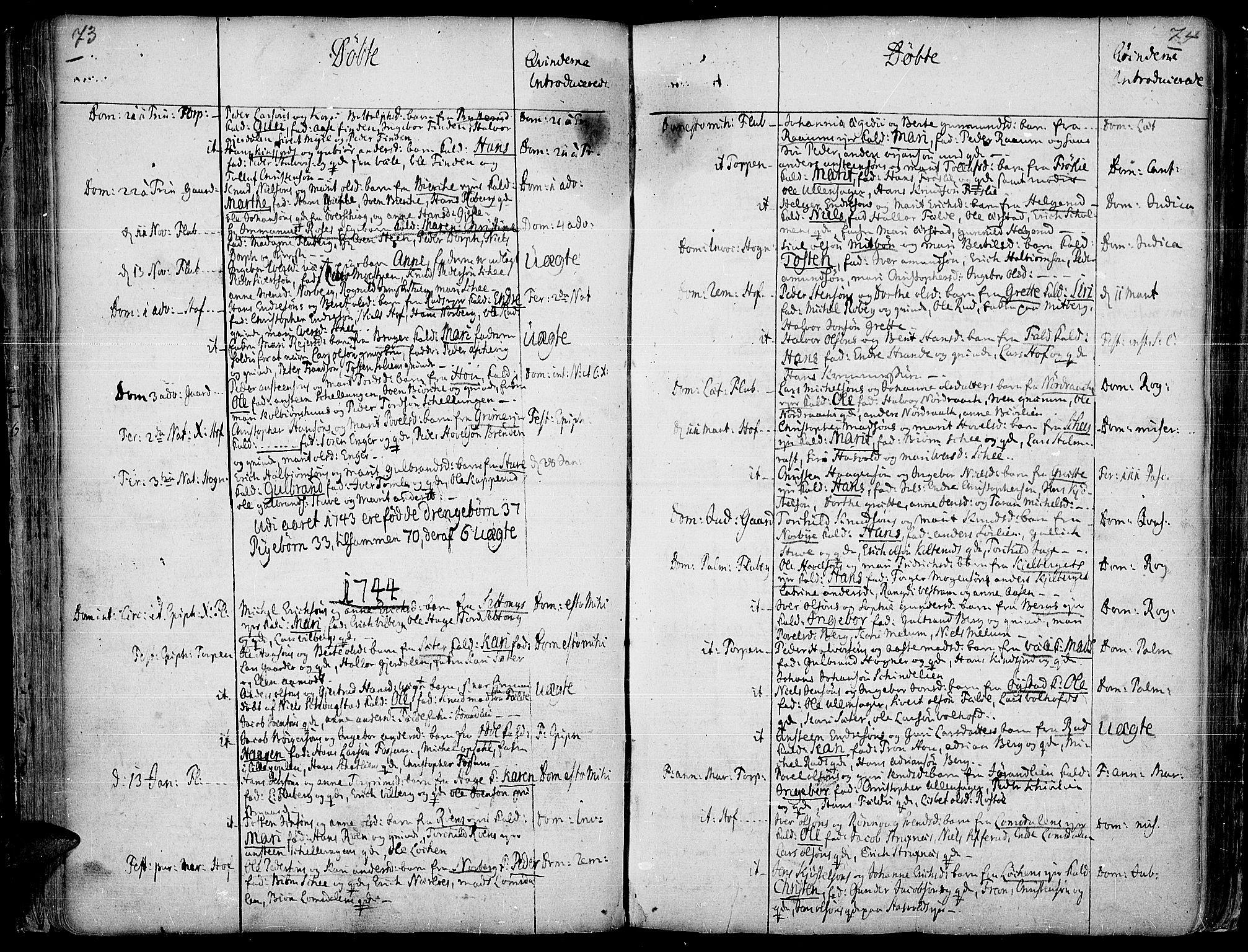 SAH, Land prestekontor, Ministerialbok nr. 2, 1733-1764, s. 73-74
