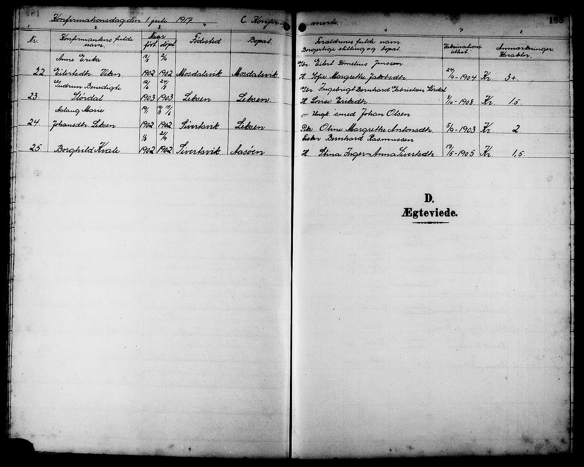 SAT, Ministerialprotokoller, klokkerbøker og fødselsregistre - Sør-Trøndelag, 662/L0757: Klokkerbok nr. 662C02, 1892-1918, s. 188