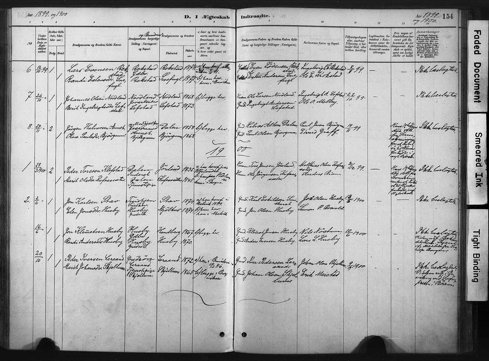 SAT, Ministerialprotokoller, klokkerbøker og fødselsregistre - Sør-Trøndelag, 667/L0795: Ministerialbok nr. 667A03, 1879-1907, s. 154
