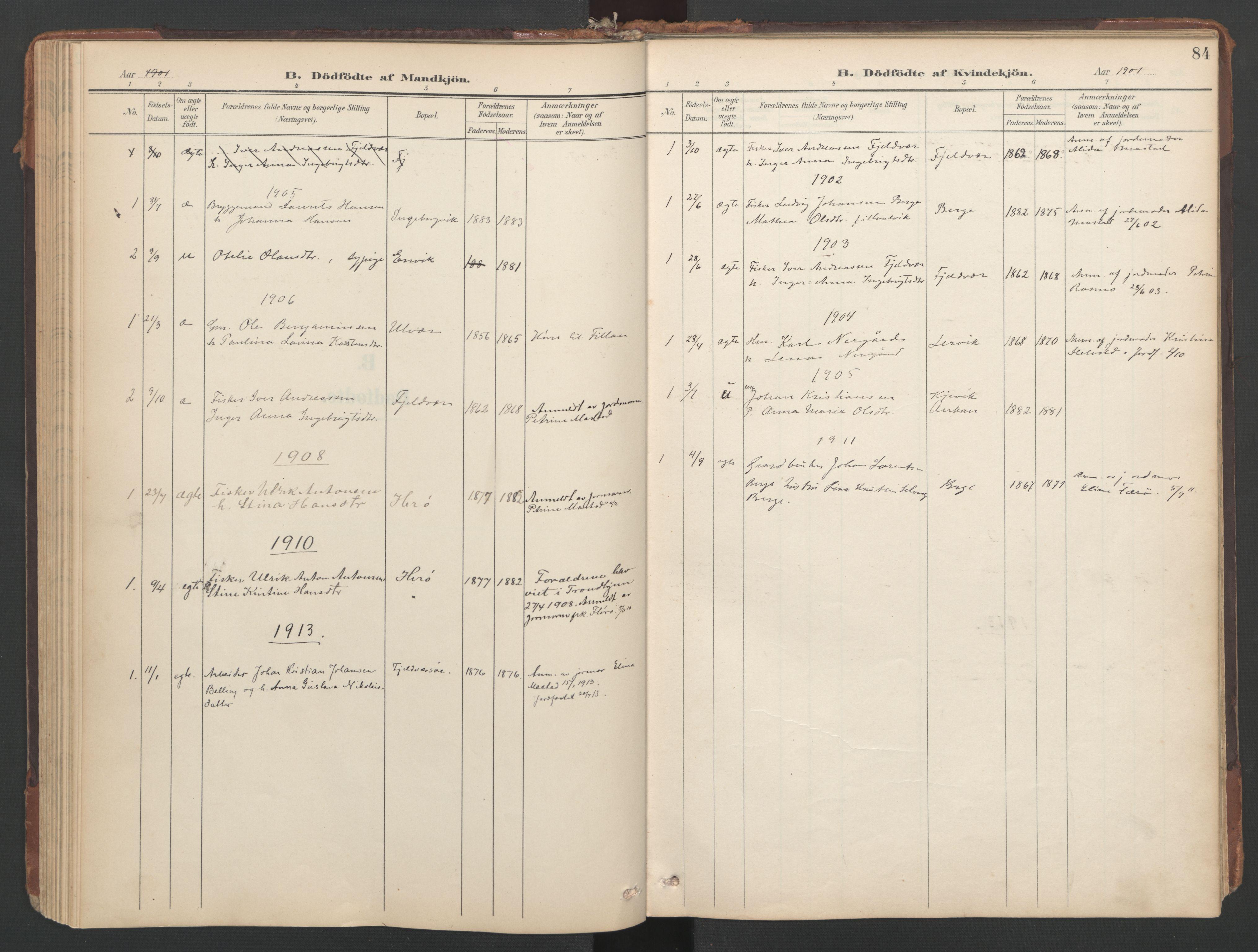 SAT, Ministerialprotokoller, klokkerbøker og fødselsregistre - Sør-Trøndelag, 638/L0568: Ministerialbok nr. 638A01, 1901-1916, s. 84
