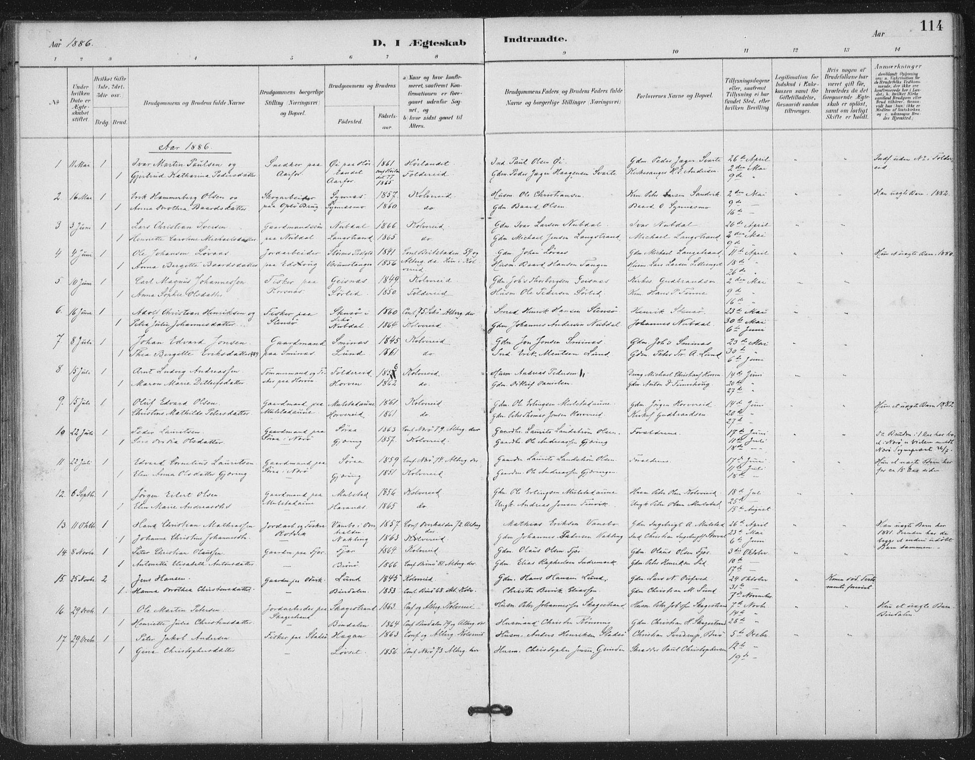 SAT, Ministerialprotokoller, klokkerbøker og fødselsregistre - Nord-Trøndelag, 780/L0644: Ministerialbok nr. 780A08, 1886-1903, s. 114